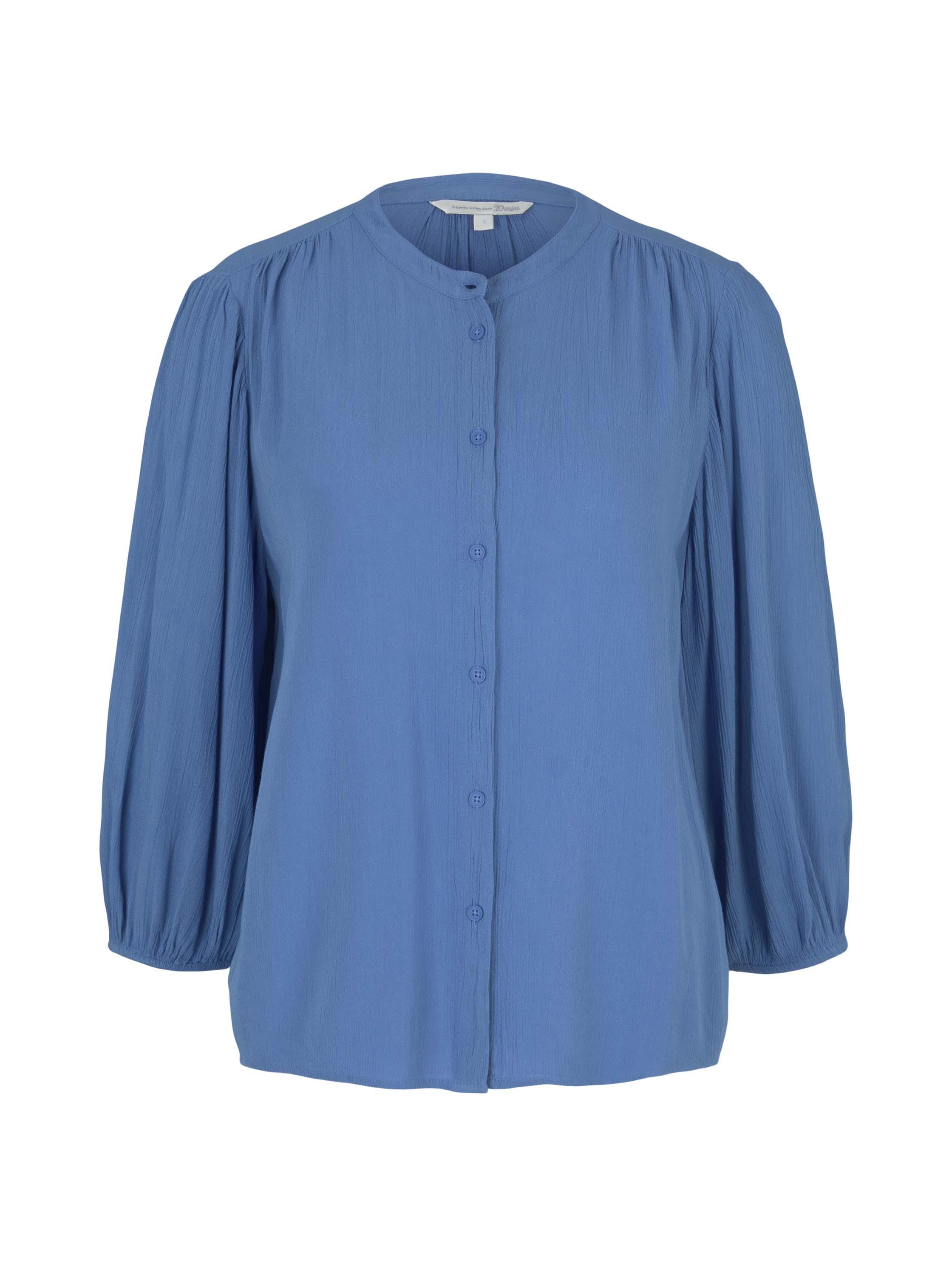 balloon sleeve blouse, mid blue