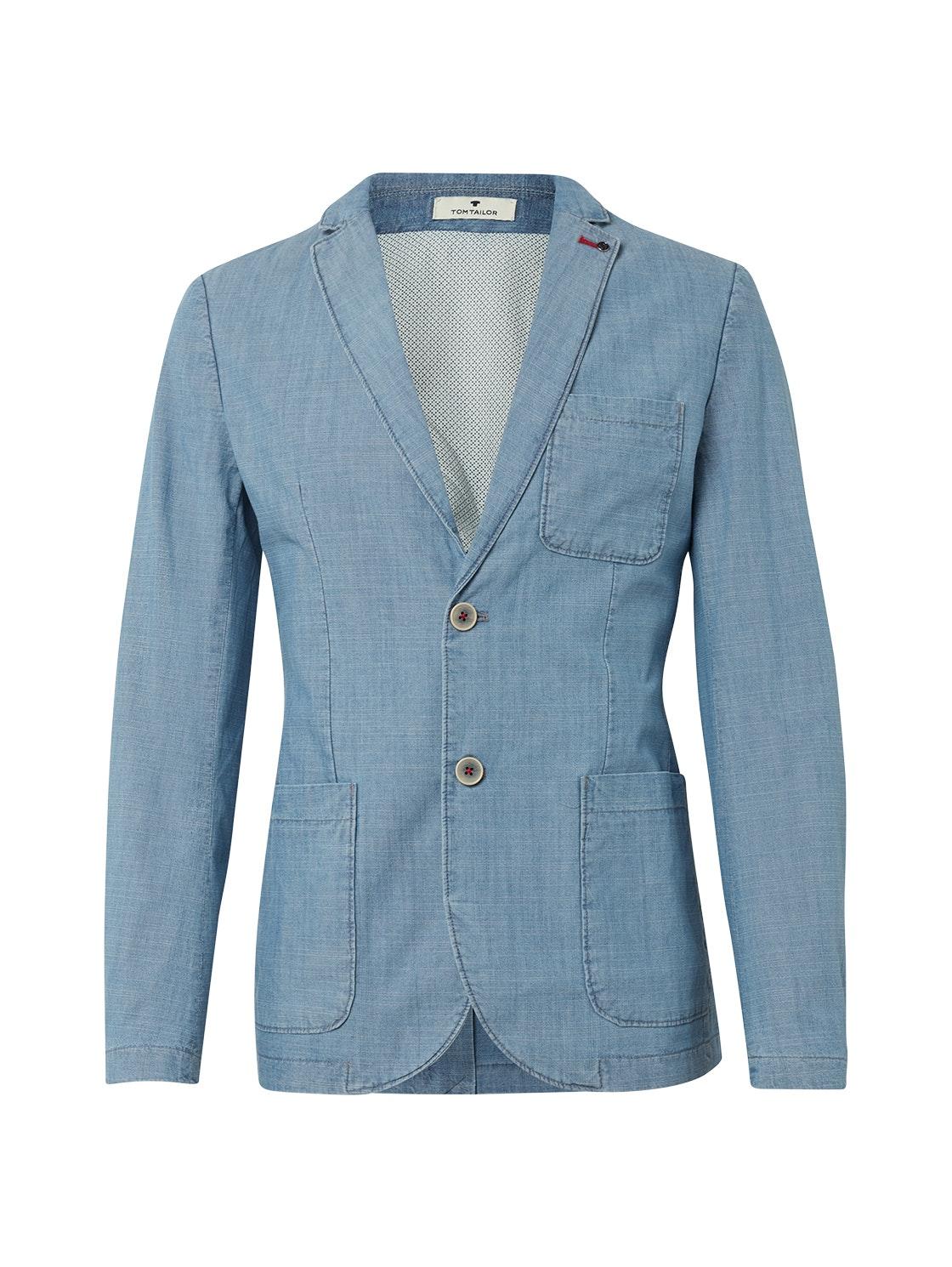 casual chambrey blazer, denim blue slub chambray      Blue