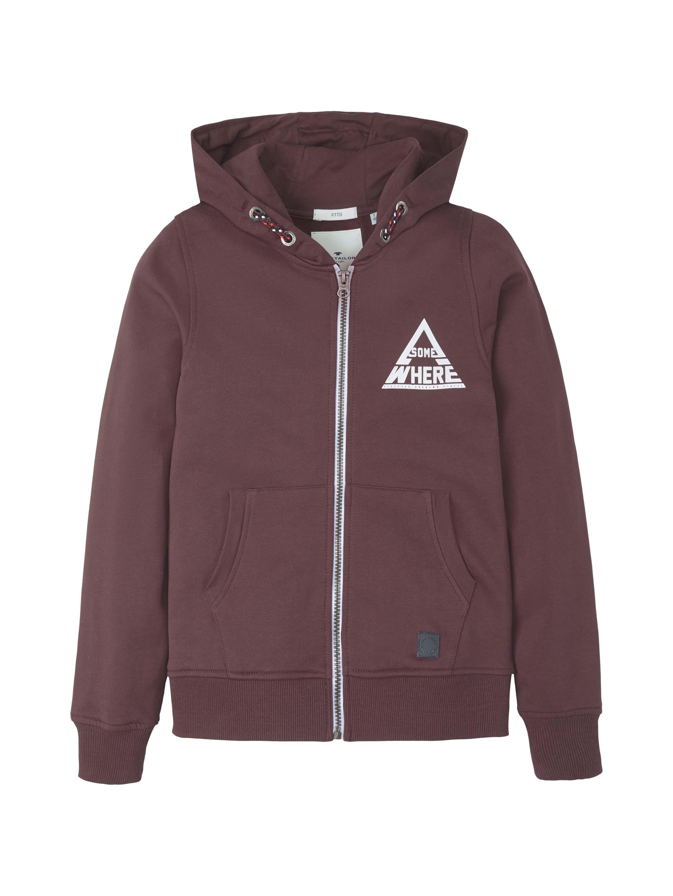 sweatshirt placed print, fudge-brown