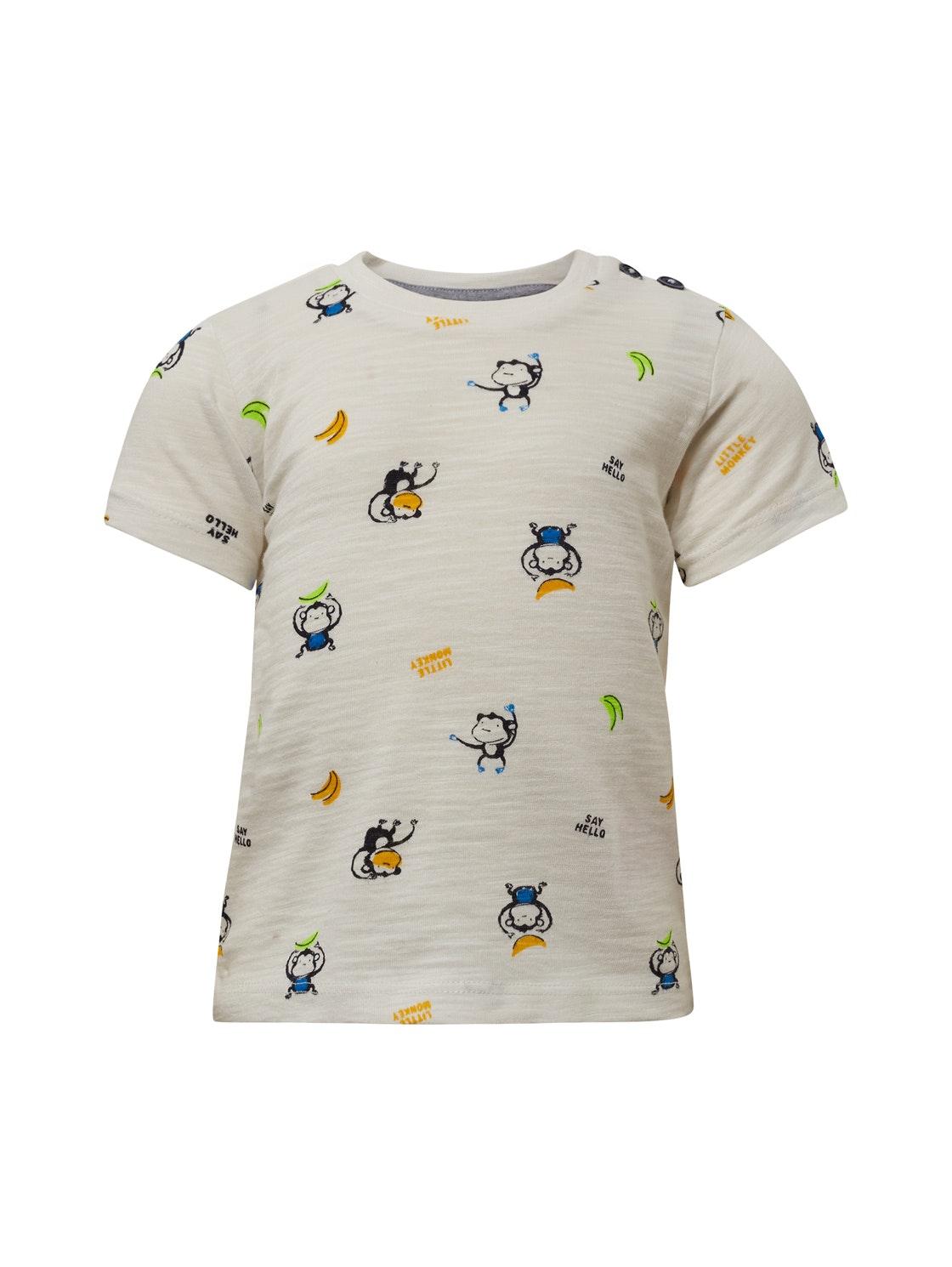 T-shirt patterned, bright white-white