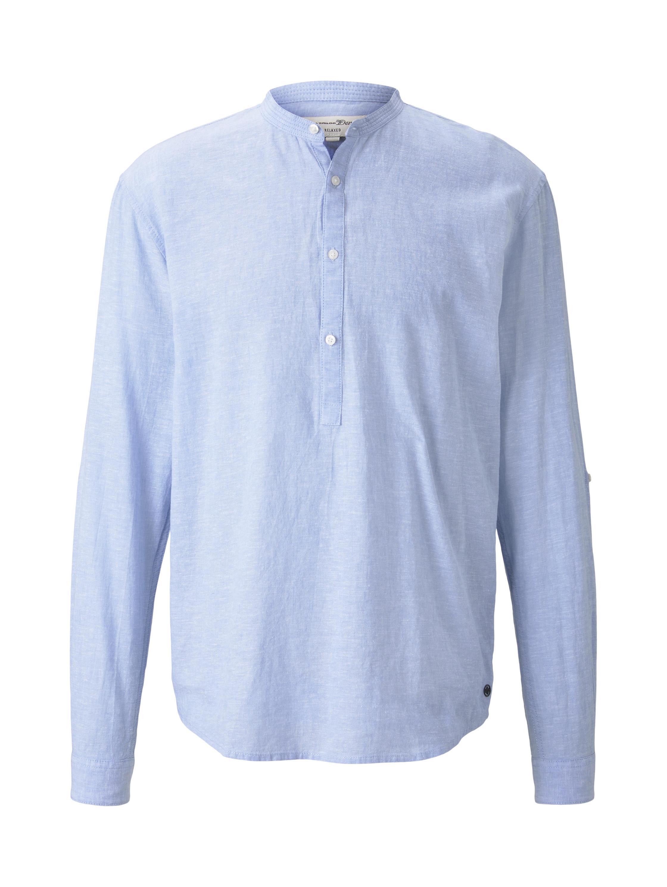 cotton linen mix tunic, Light Blue