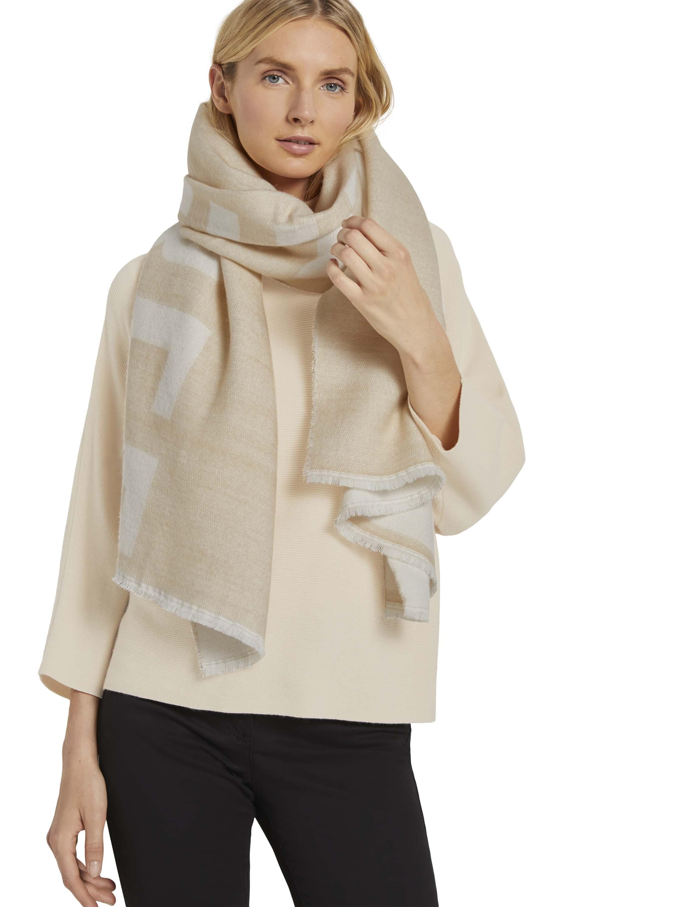 cozy scarf with wording, Cargo Beige