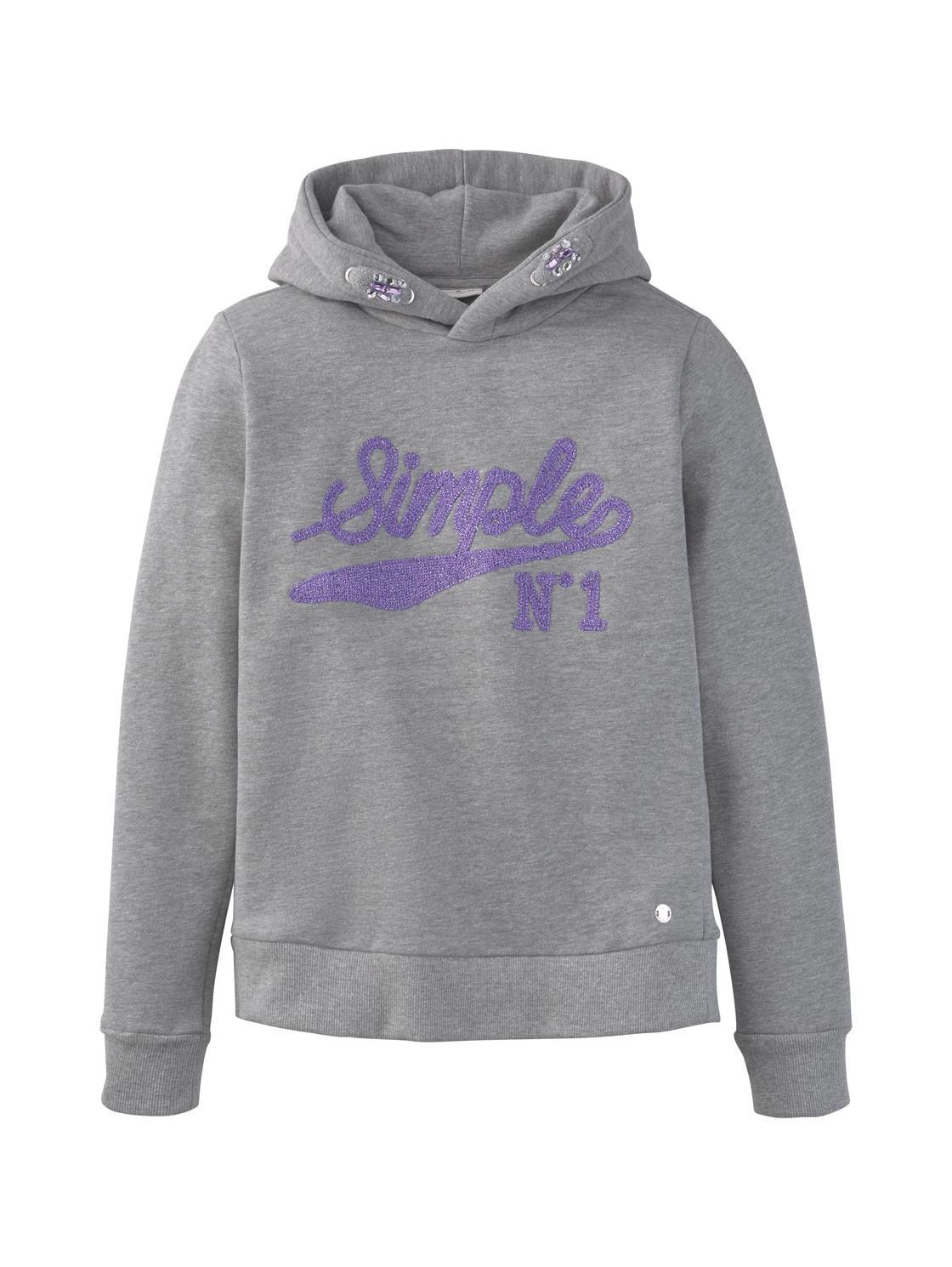 sweatshirt placed wording, drizzle melange-gray