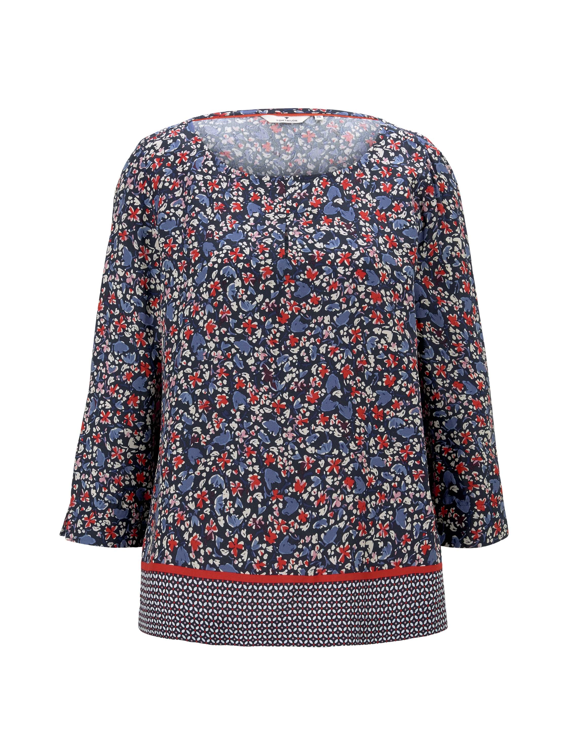 blouse print mix, navy flower design
