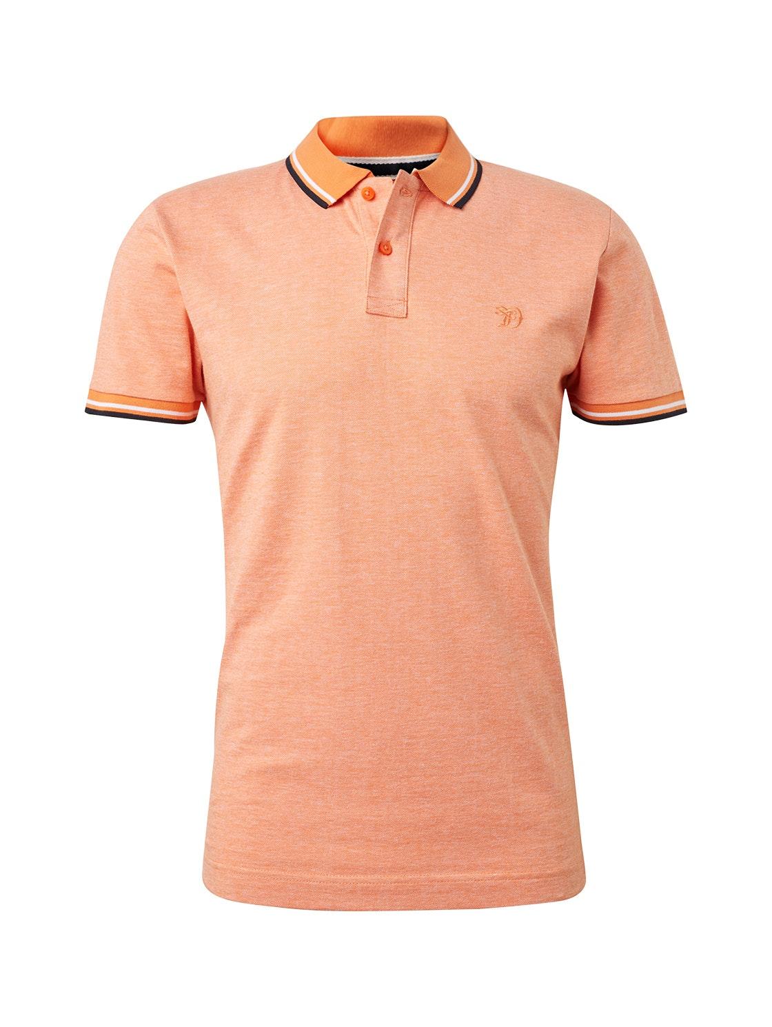 new structured polo, orange single dye melange     Yello