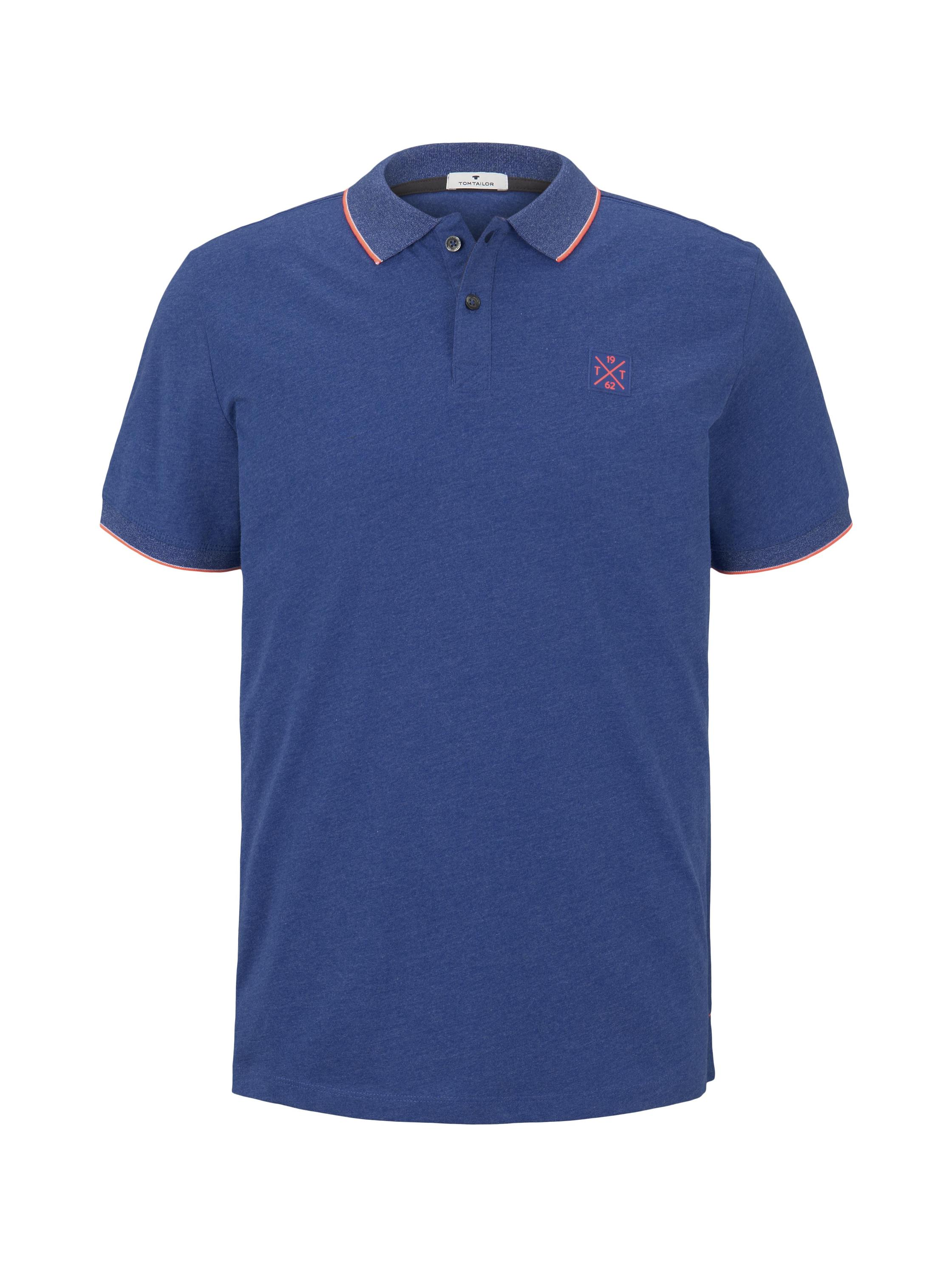polo with tipping, royal blue white melange