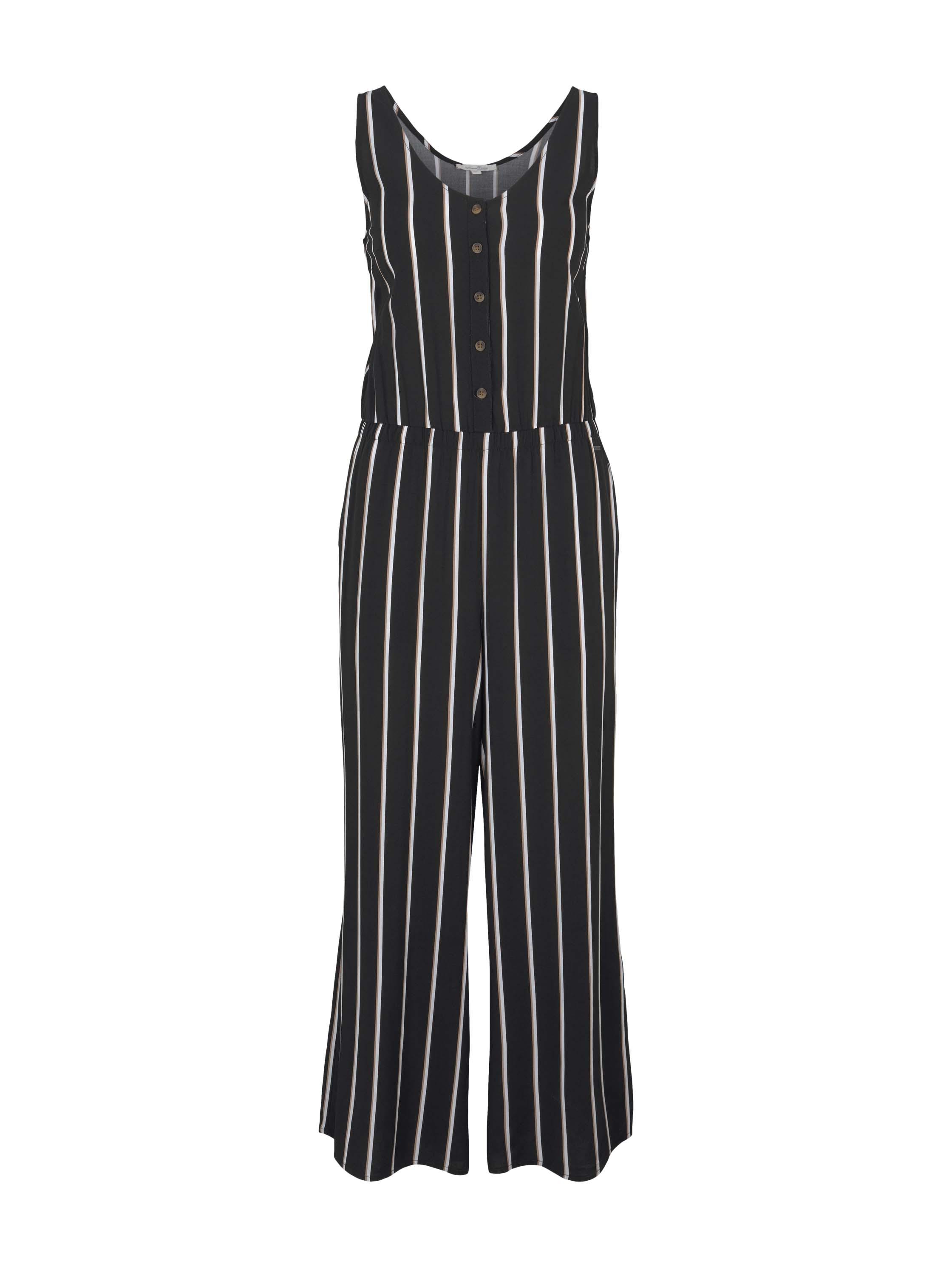culotte overall, black beige vertical stripe