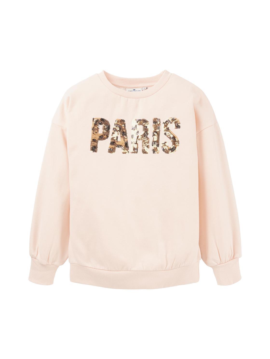 sweatshirt placed print, pearl blush-rose