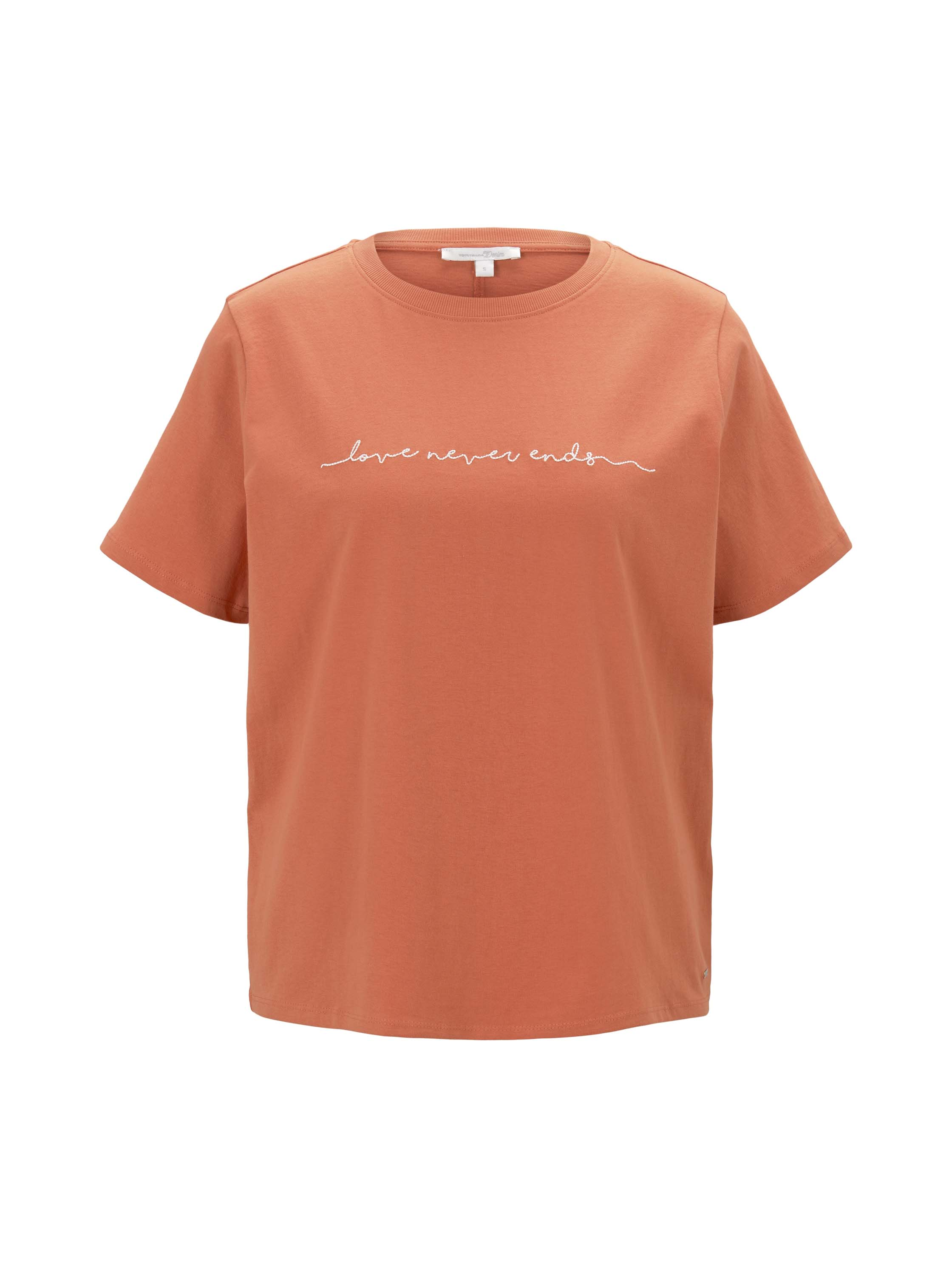 boxy tee with embro, burnt coral
