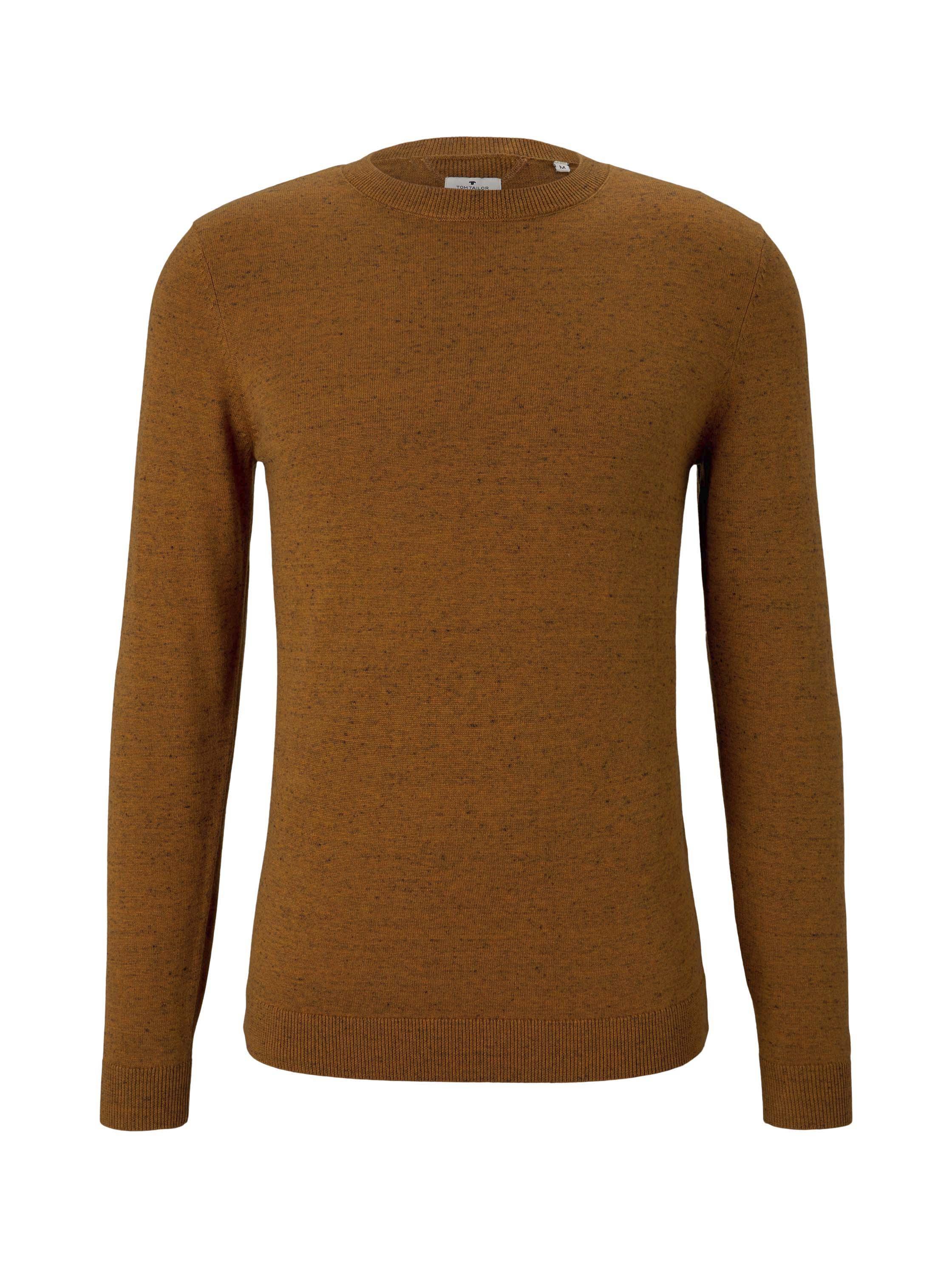 basic crew neck sweater, orange white heather yarn