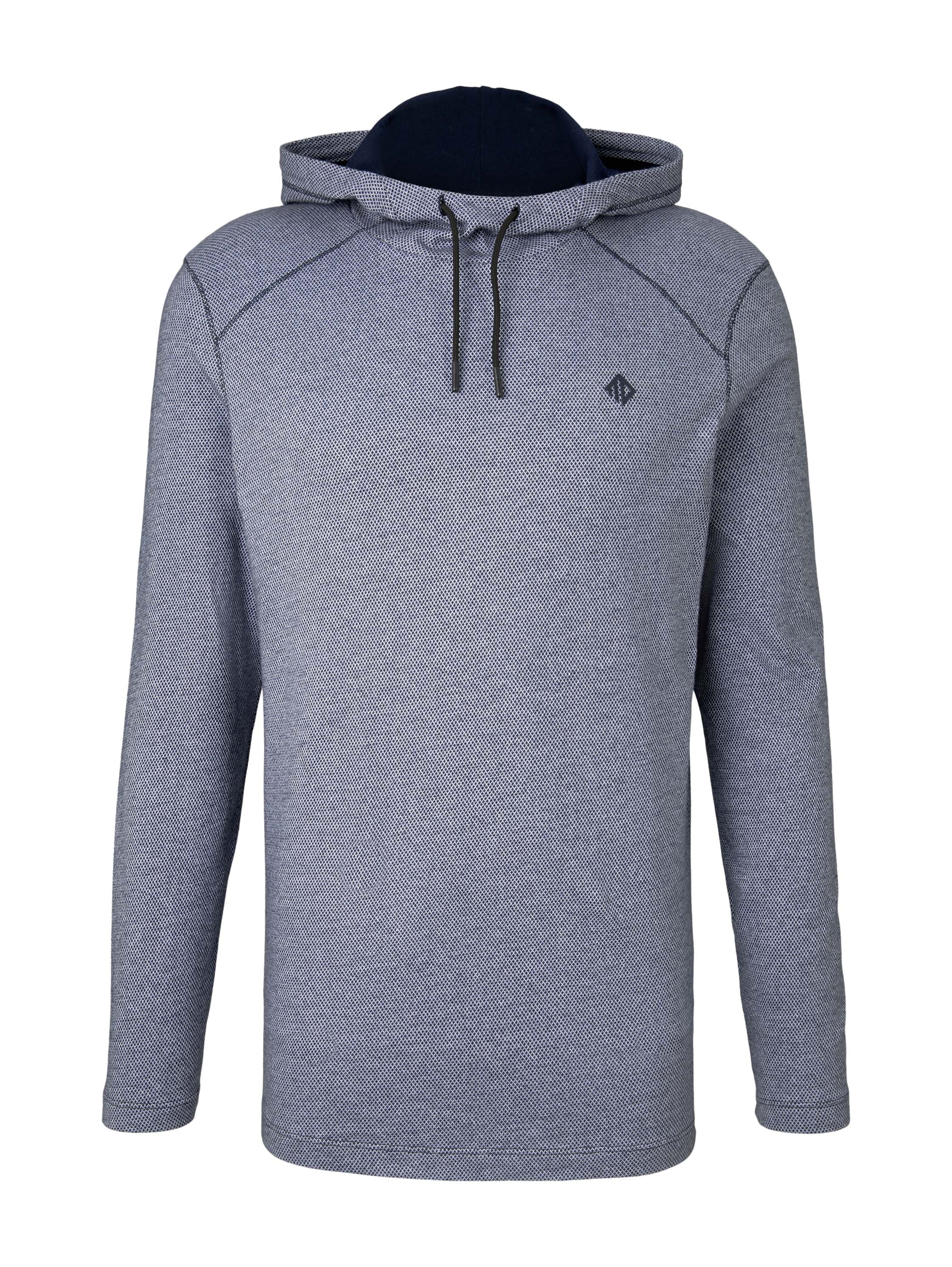 hooded T-shirt in structure, Sky Captain Blue Non-Solid