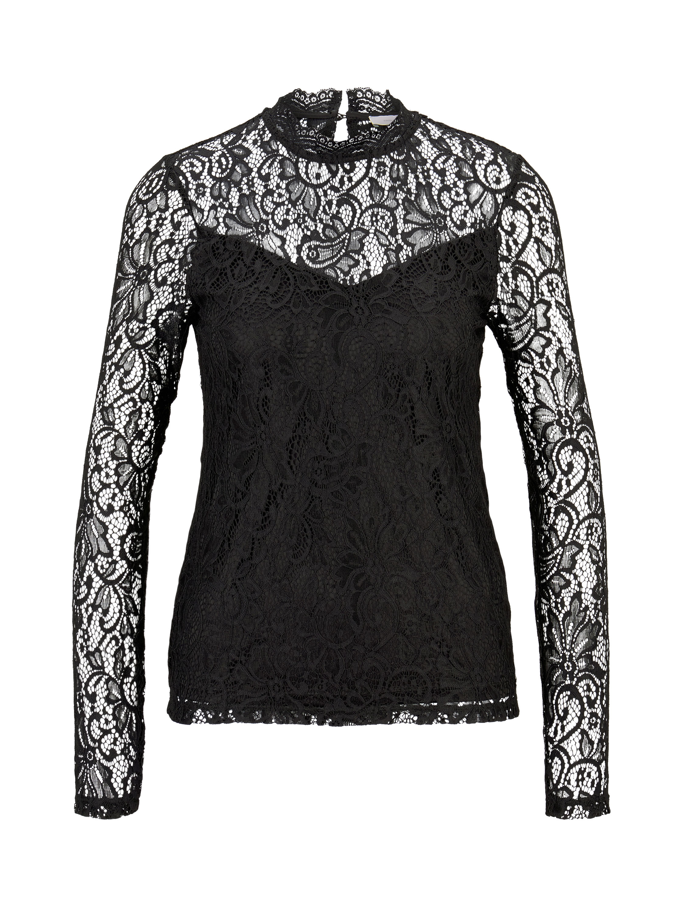 all over lace blouse, Deep Black                    Grey,