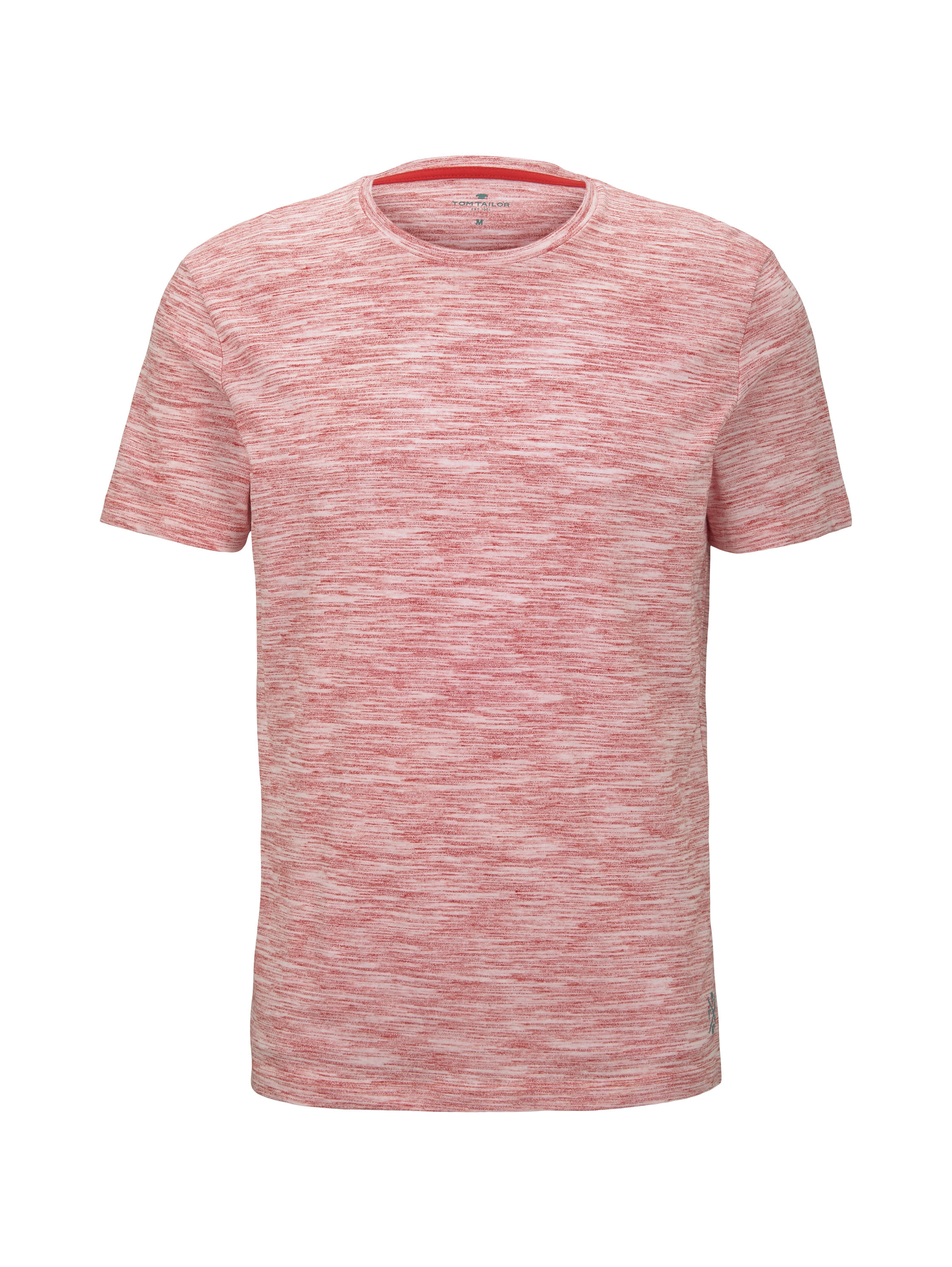 basic two-tone t-shirt, red offwhite streaky inject