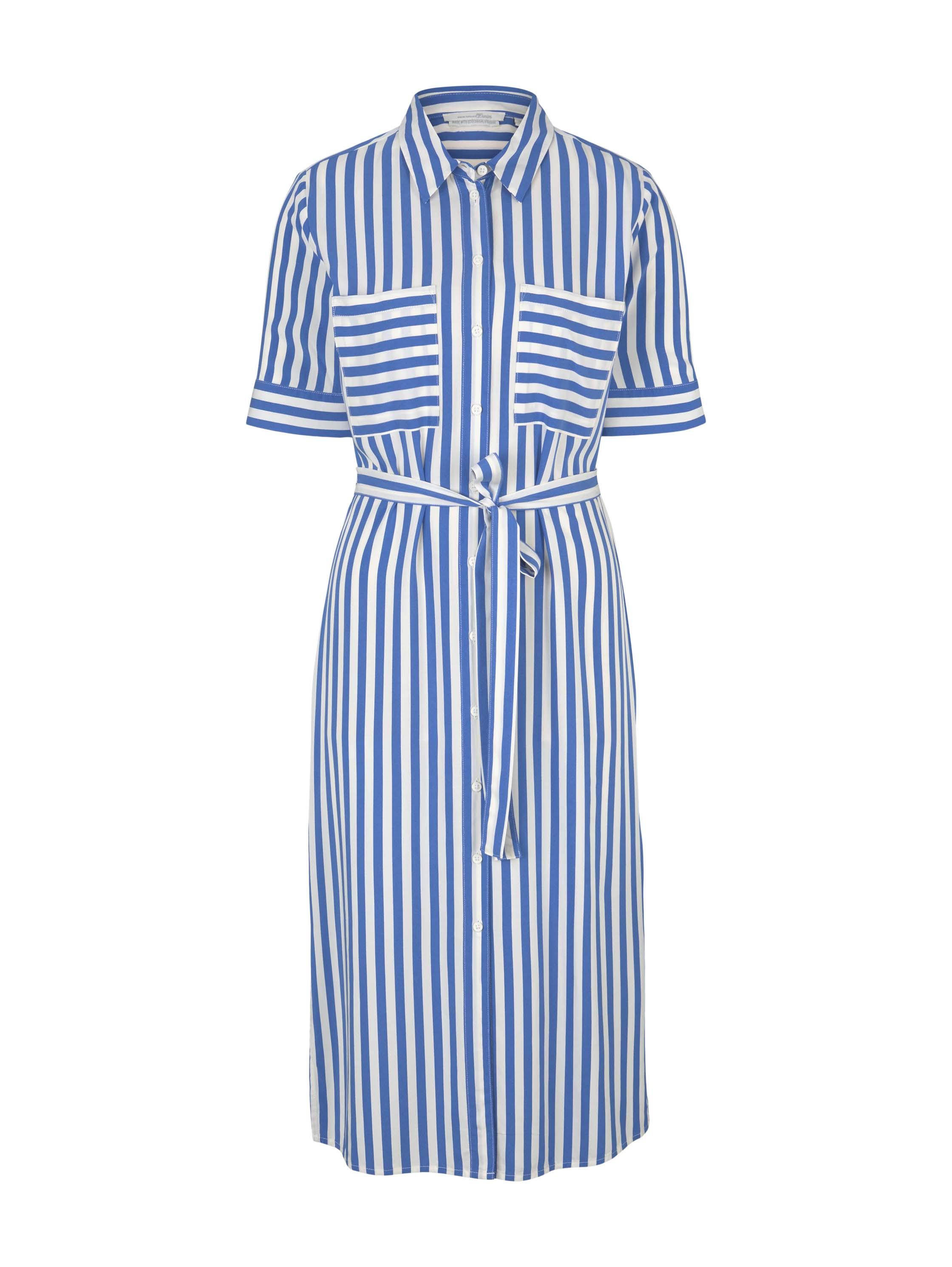 button down midi dress, mid blue white stripe