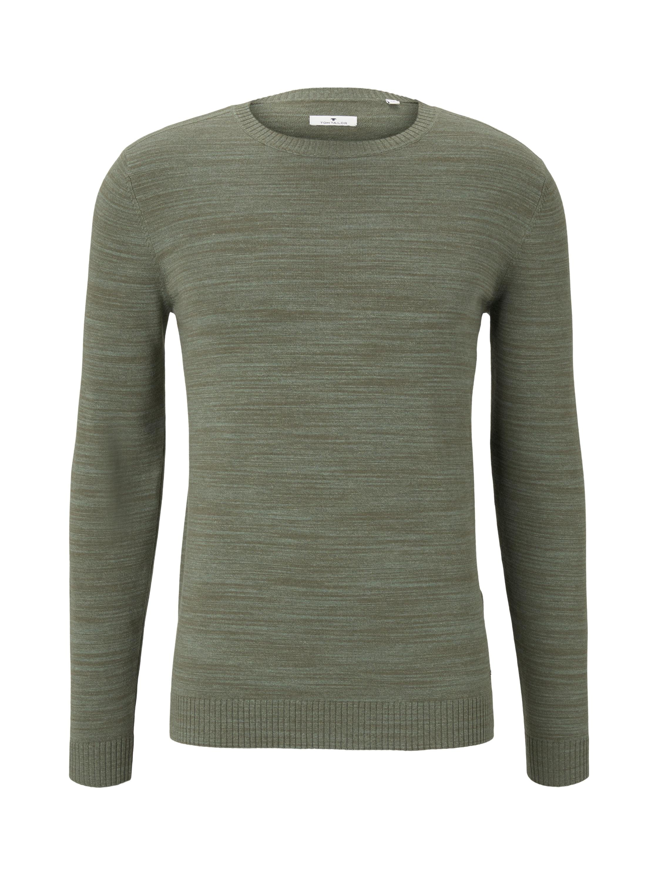 fine knitted sweater, pale green olive heather yarn