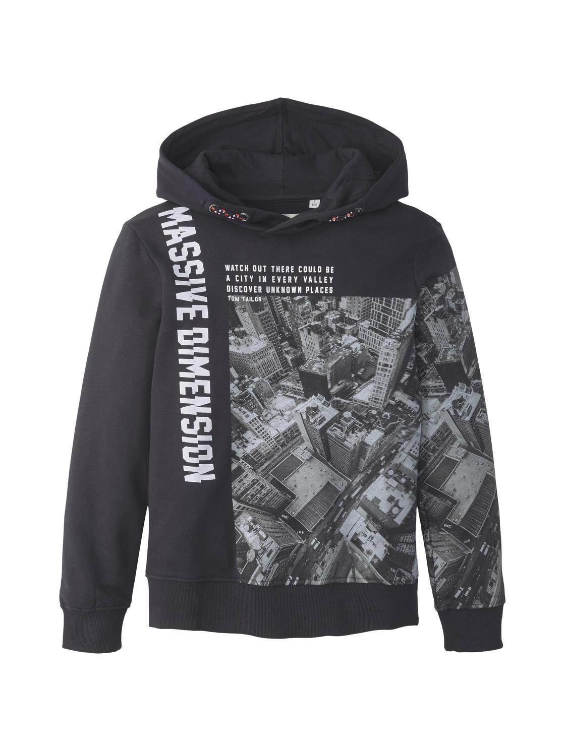 sweatshirt placed print, dark navy-blue