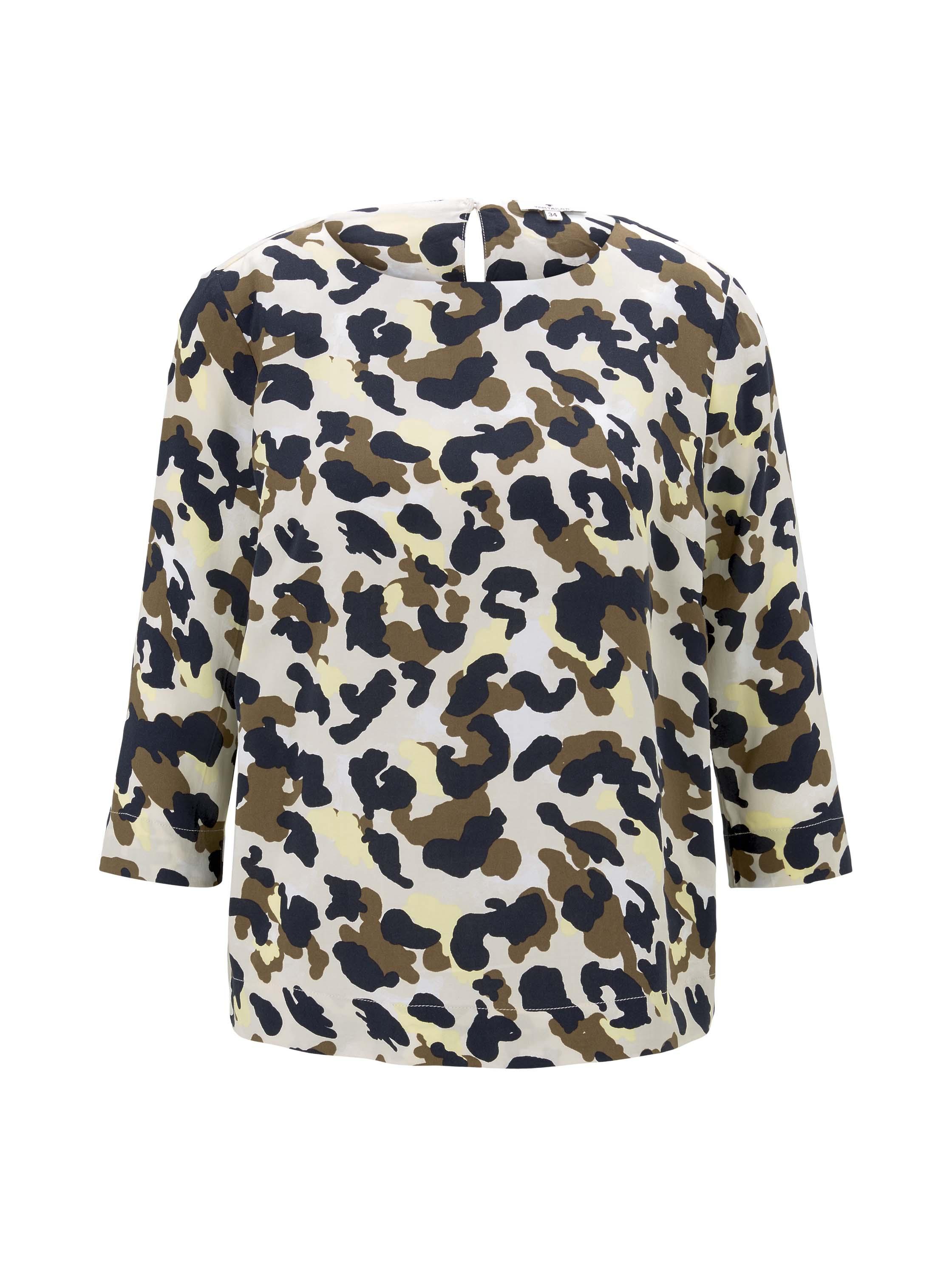 blouse easy shape, khaki yellow camouflage design