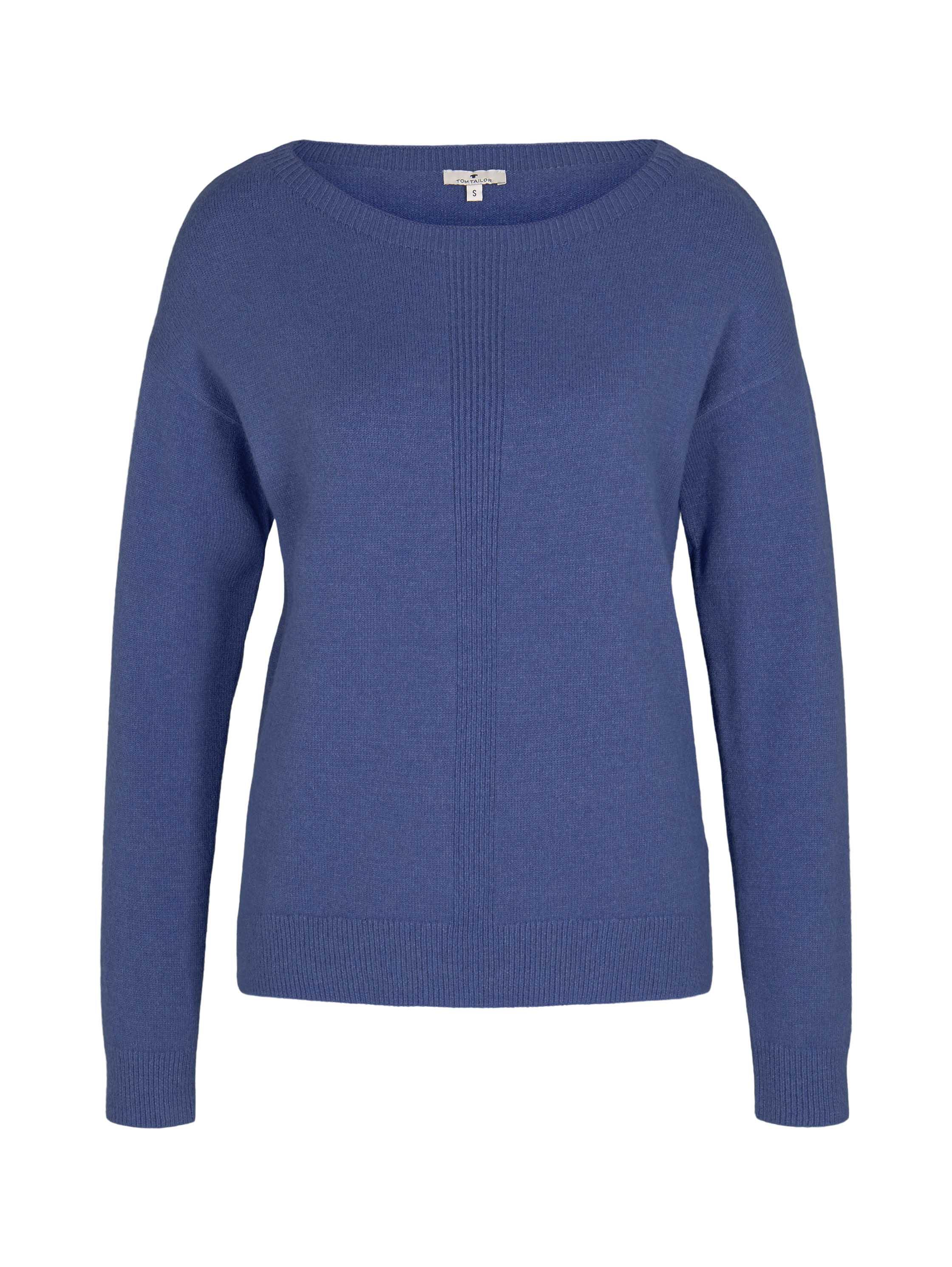 pullover with boatneck, blueberry blue melange