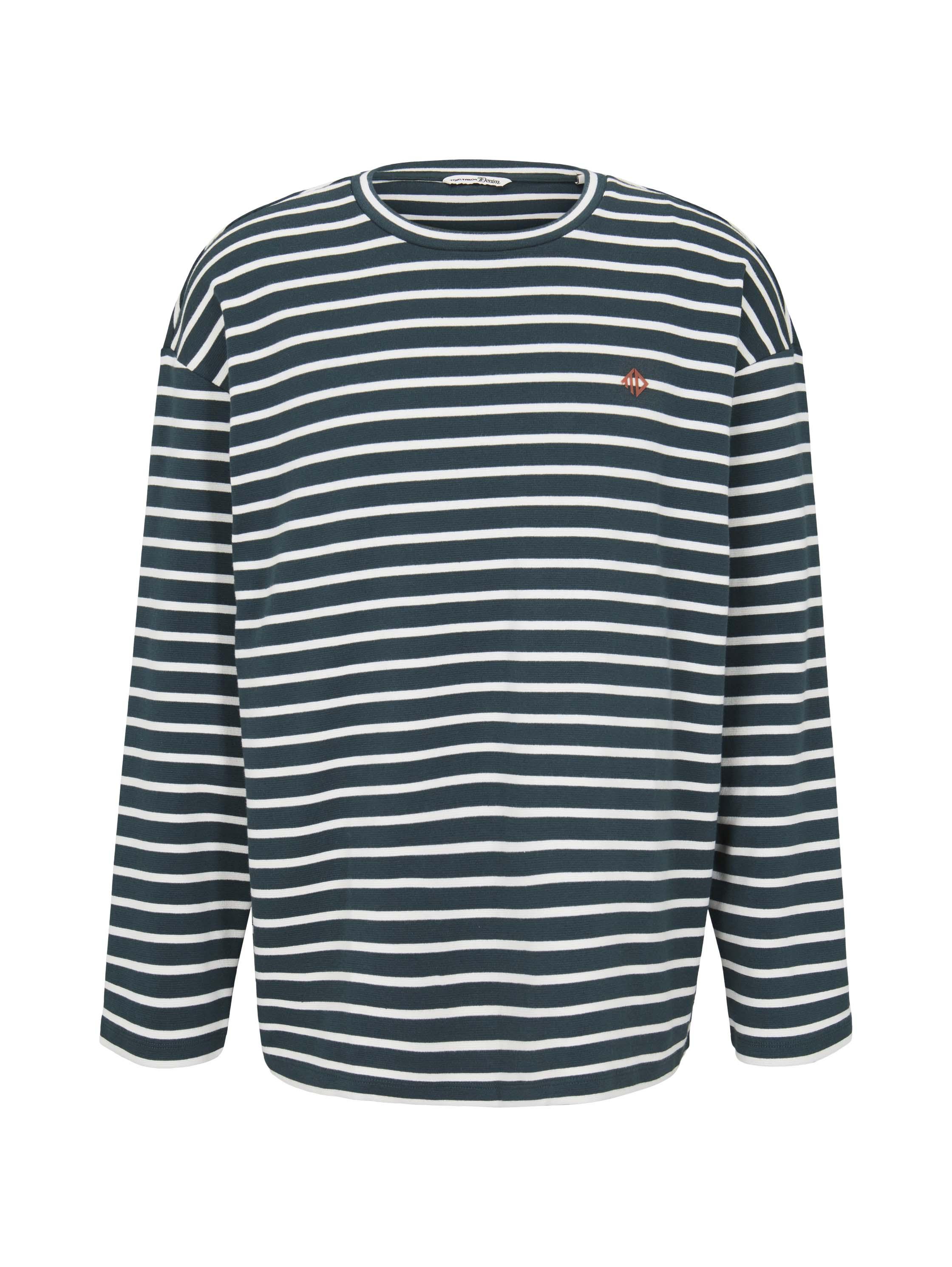 boxy striped longsleeve Tee, green white yd stripe