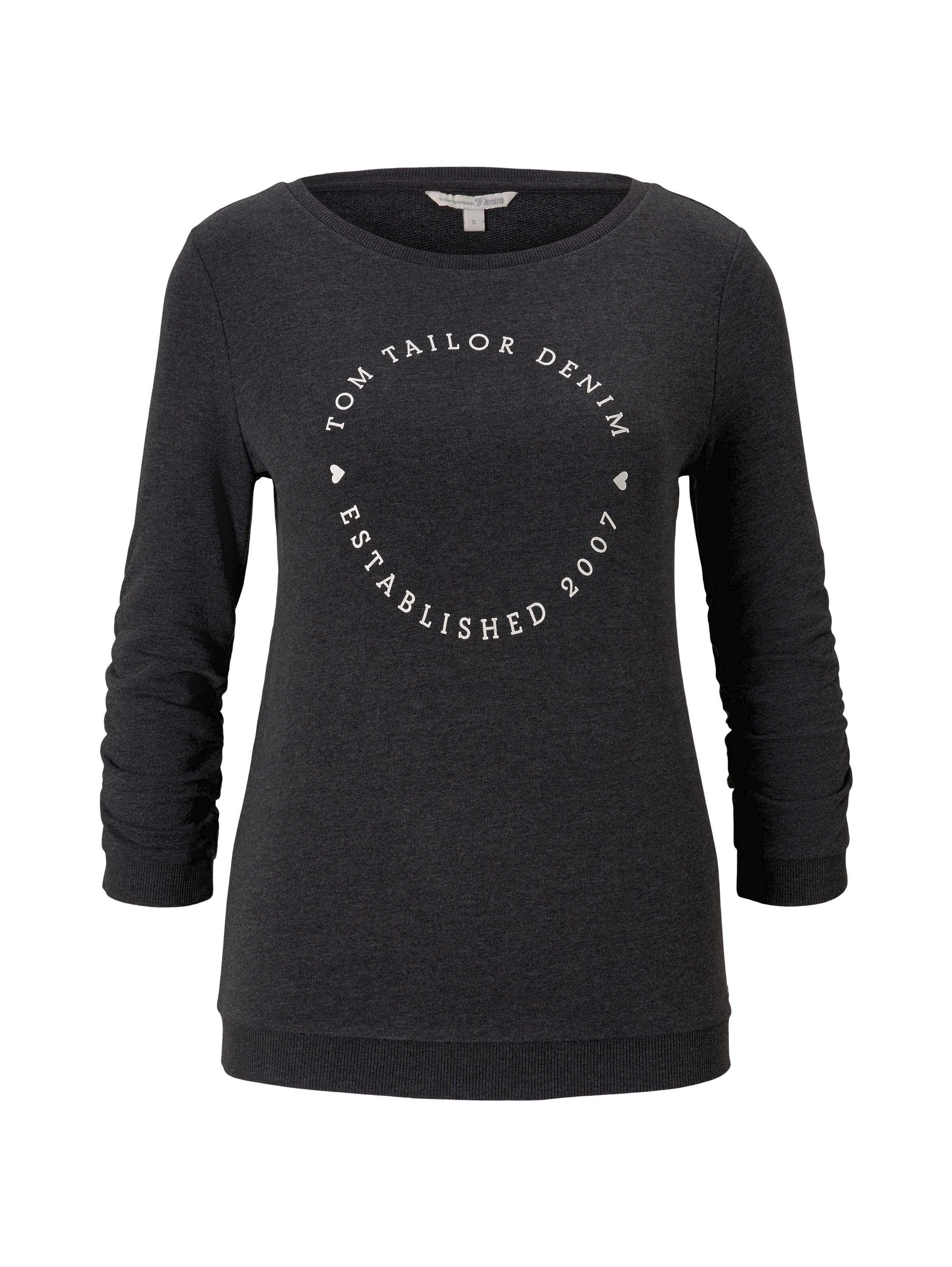 logo print sweater, Shale Grey Melange