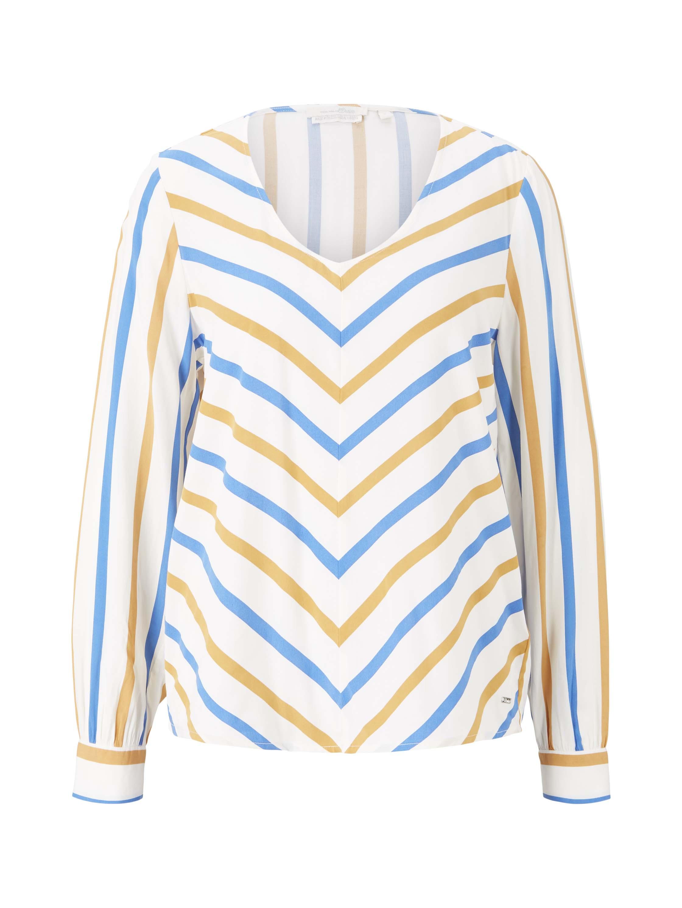 balloon sleeve v-neck blouse, creme yellow blue stripe