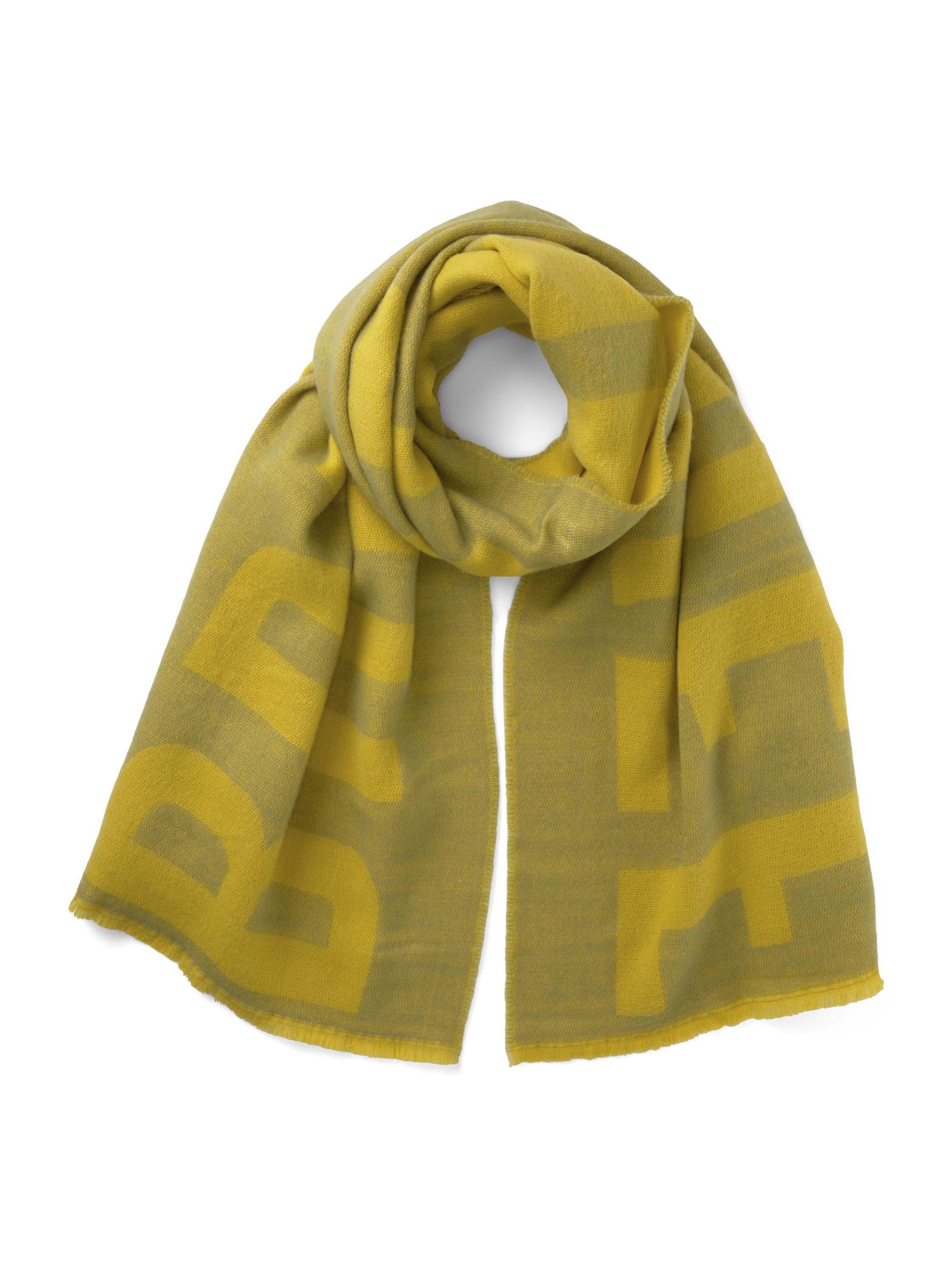 cozy scarf with wording, greyish green