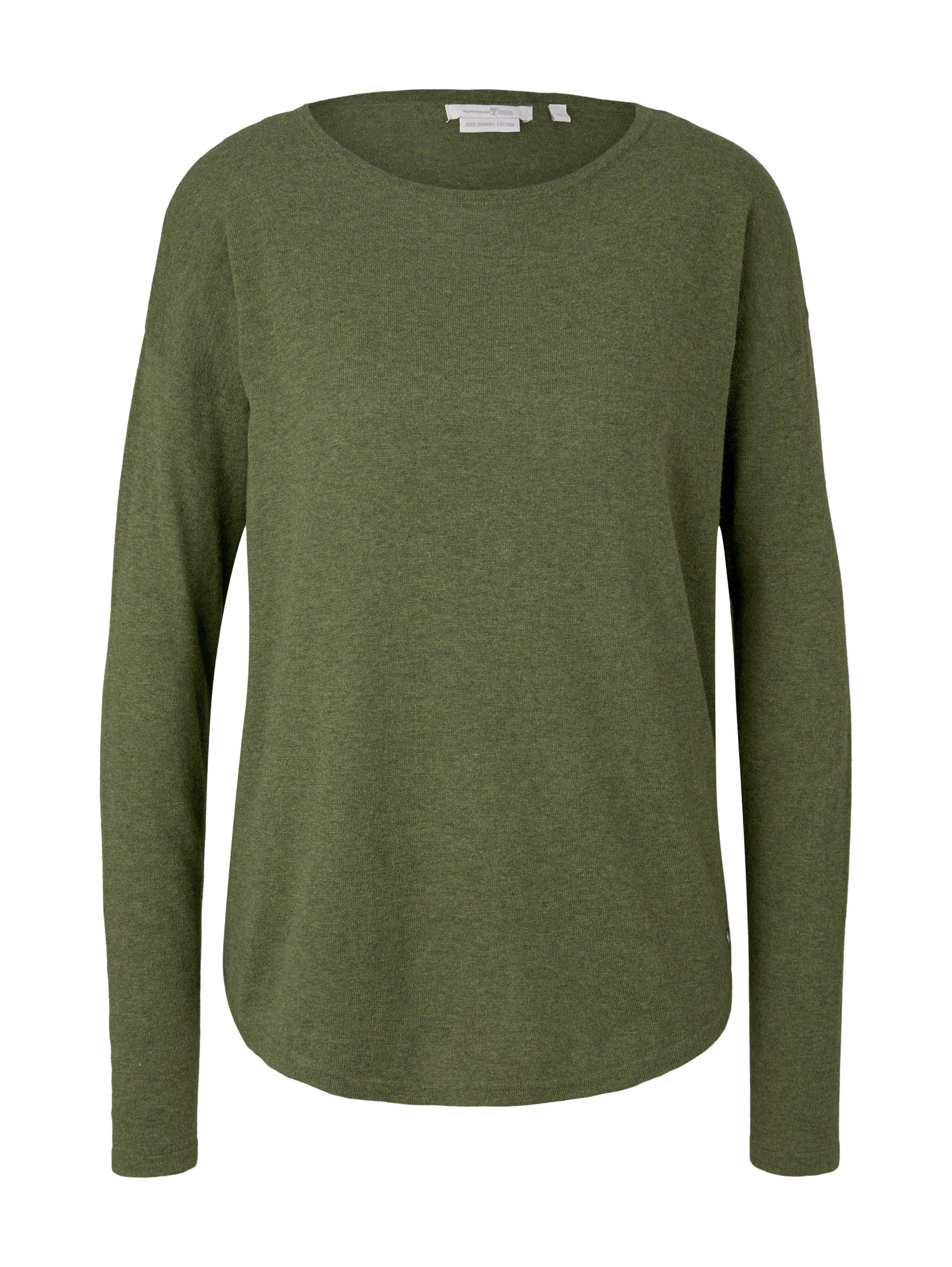 basic boat neck pullover, moss green melange