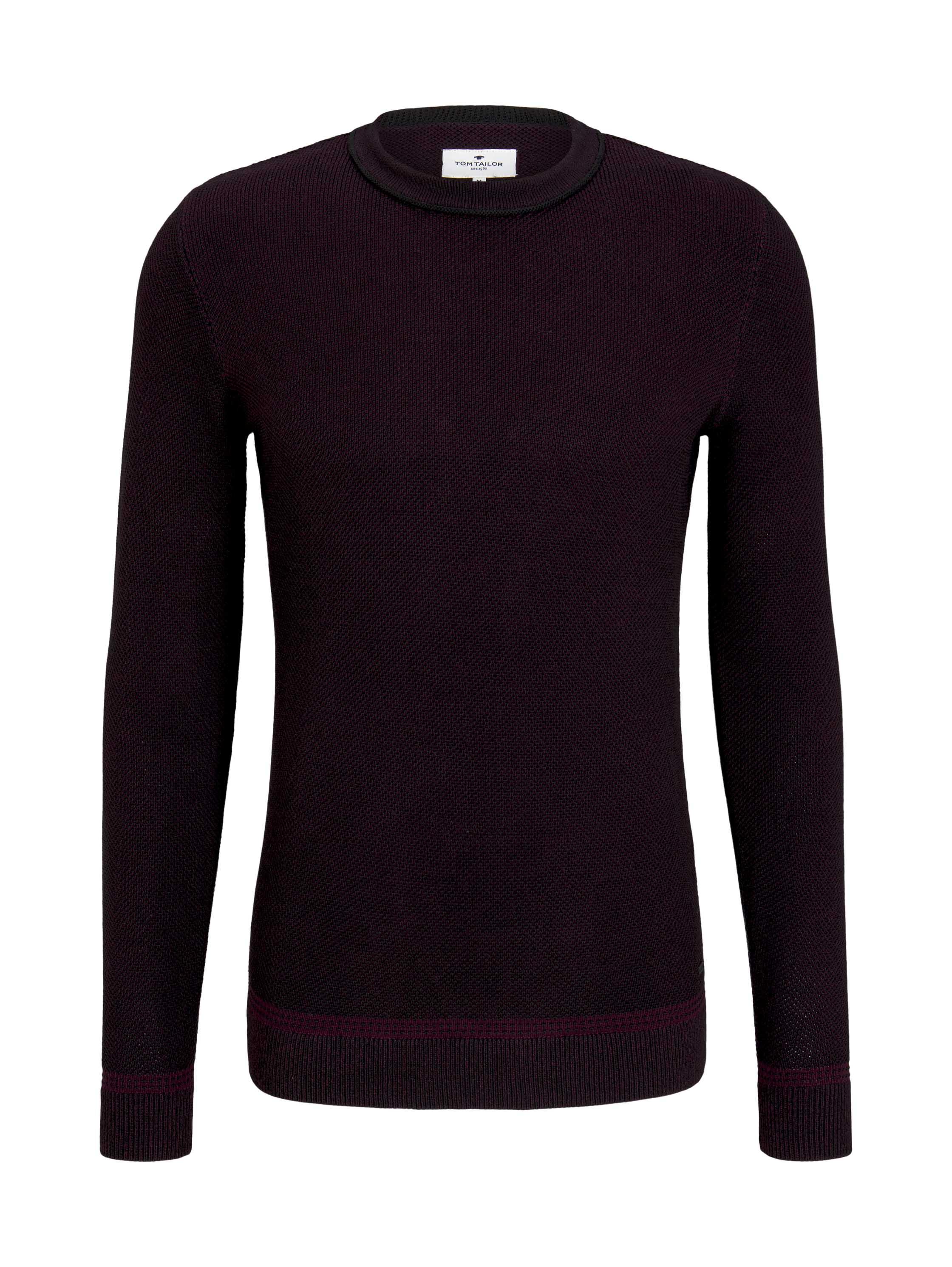 birdseye sweater, purple black birdseye jacquard