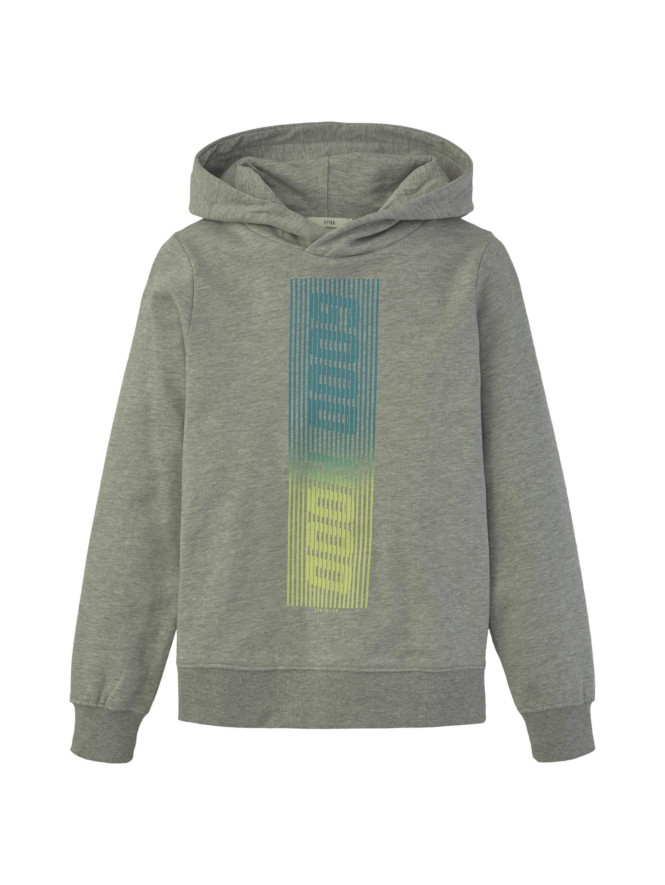 sweatshirt placed print, drizzle melange-gray