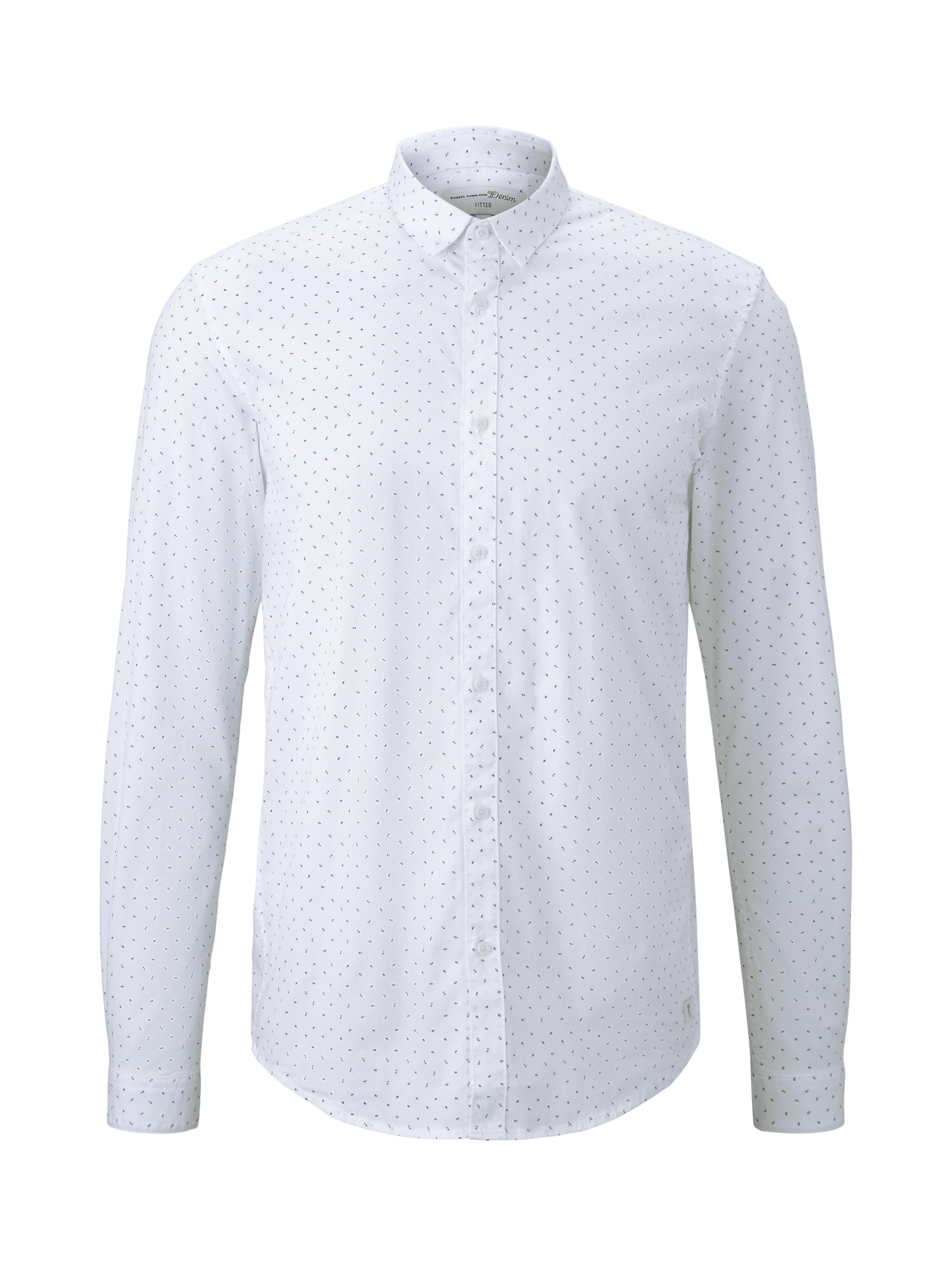 allover printed stretch shirt, white small triangle print