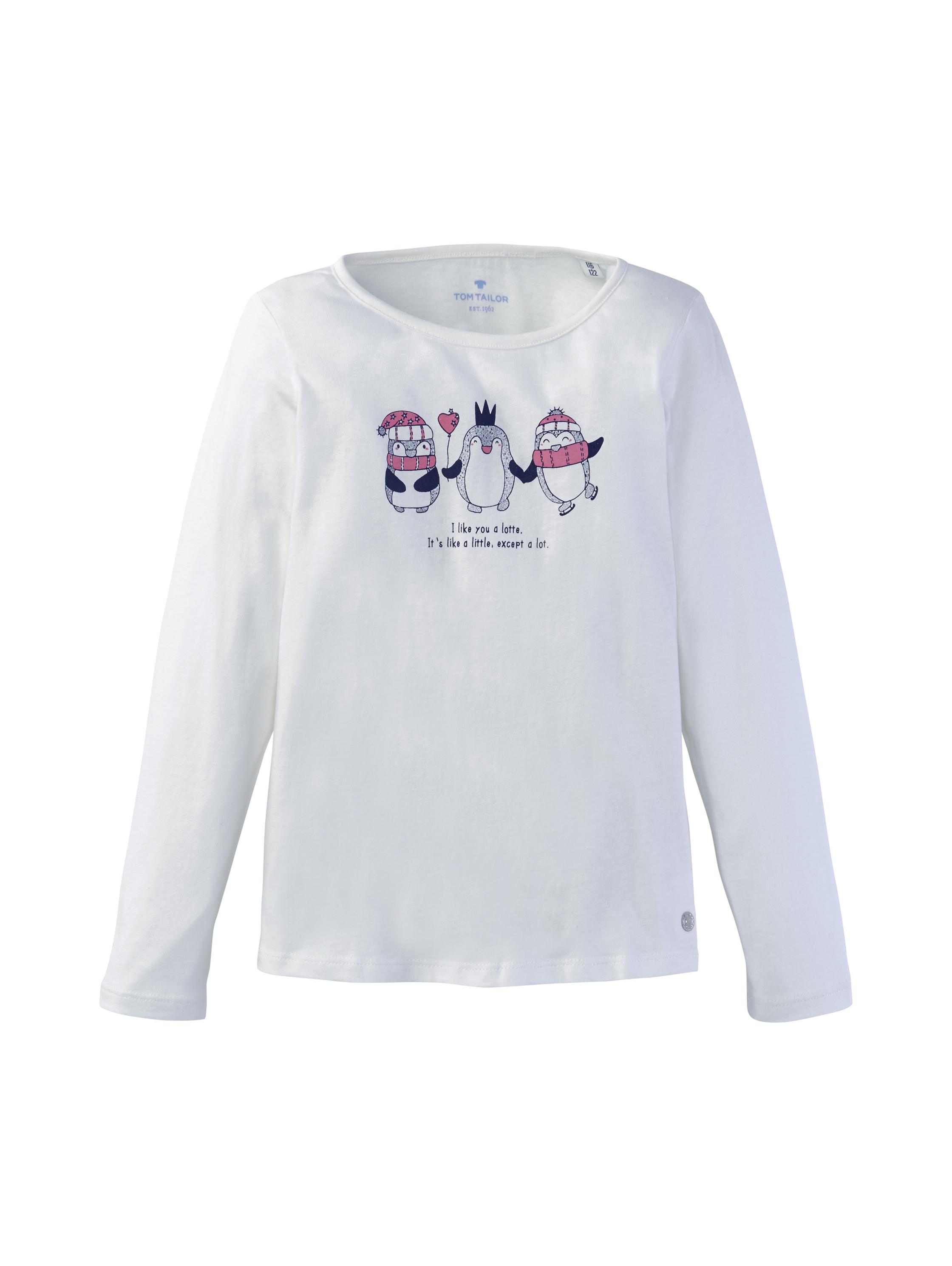 T-shirt placed print, cloud dancer-white