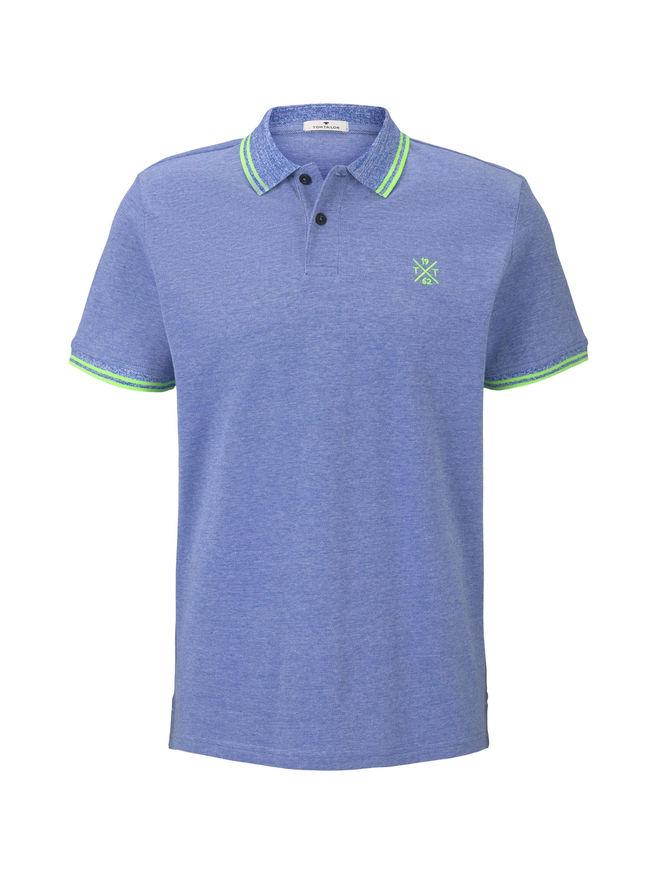 two-tone tipping polo, blue two tone pique