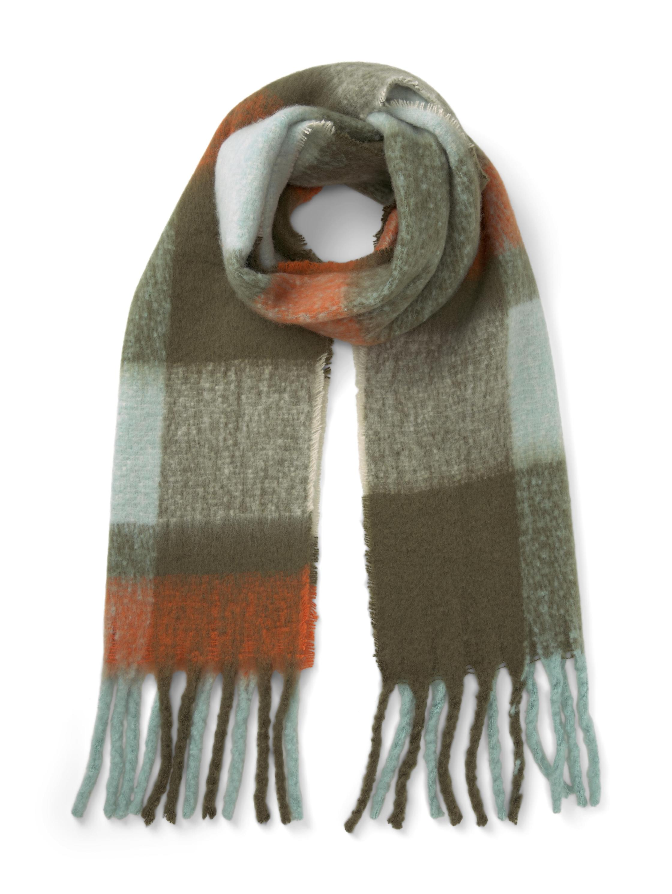 brushed colorblock scarf, olive mint colorblock