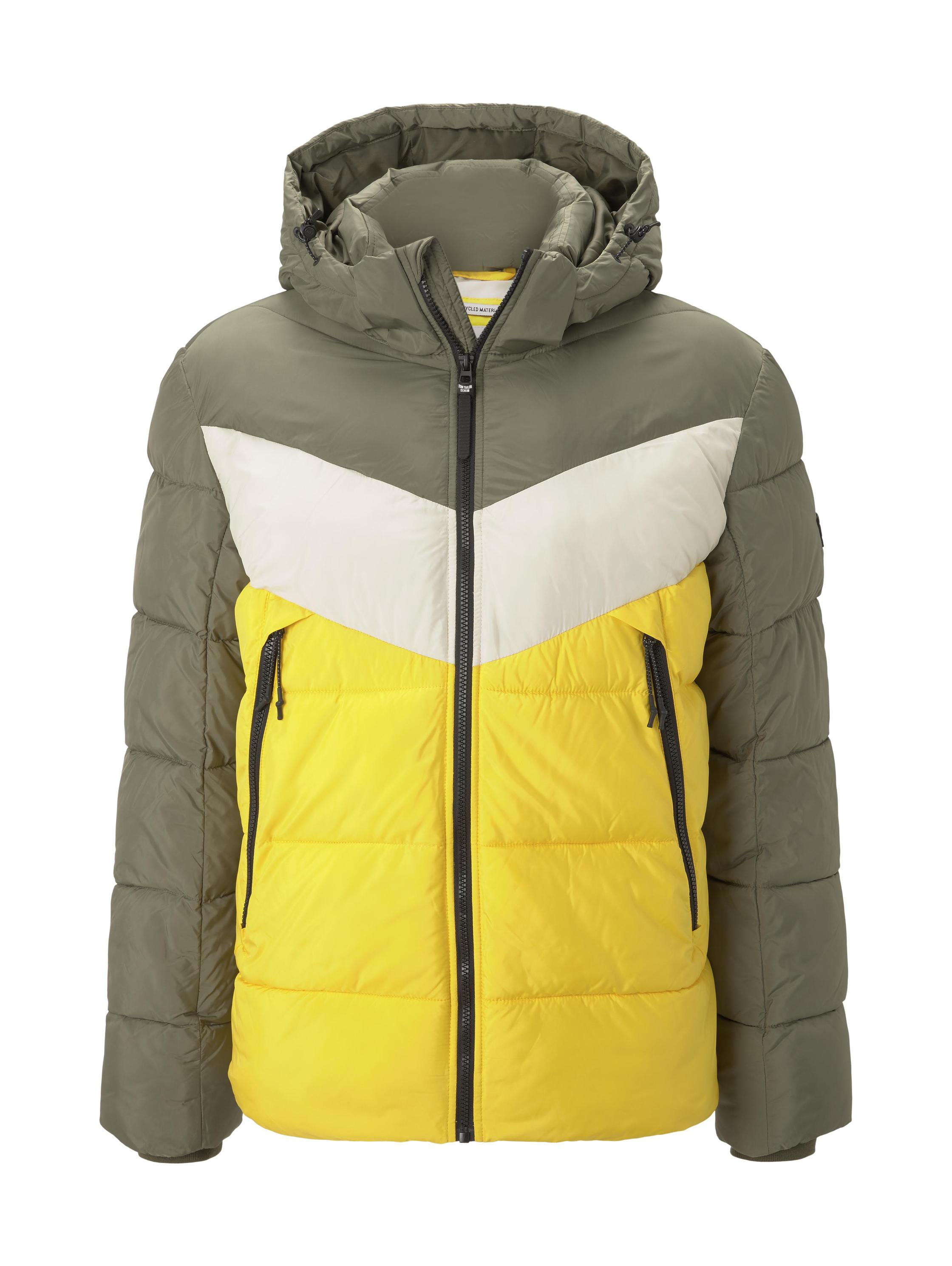 Heavy puffer jacket, tri color colorblock