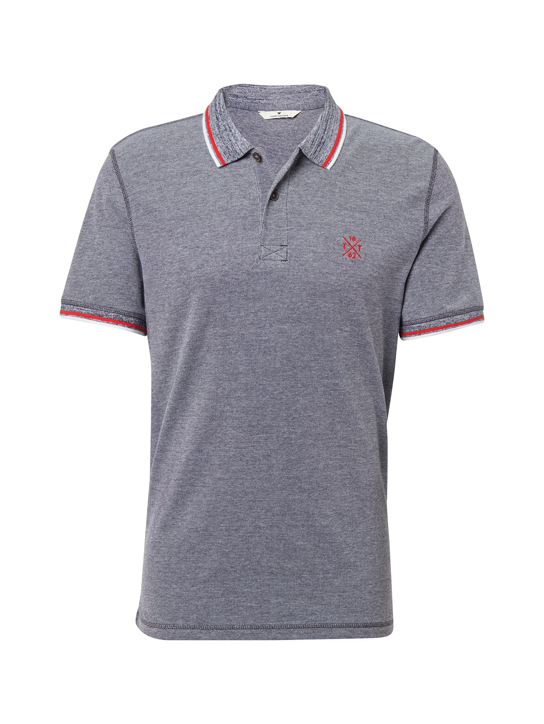 polo in two-tone fabric, navy white pique              Blue