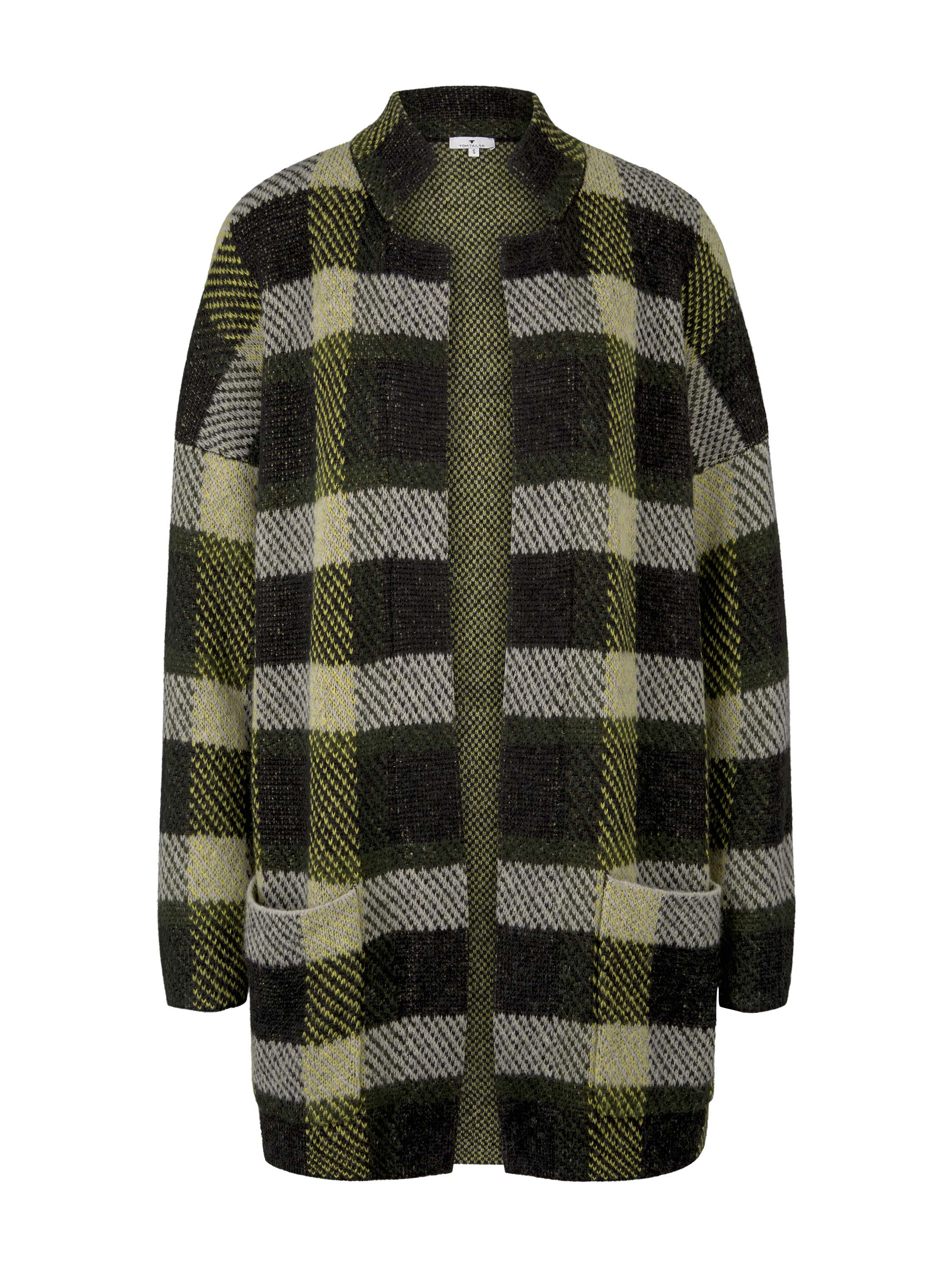 checked coatigan, black yellow check knitted