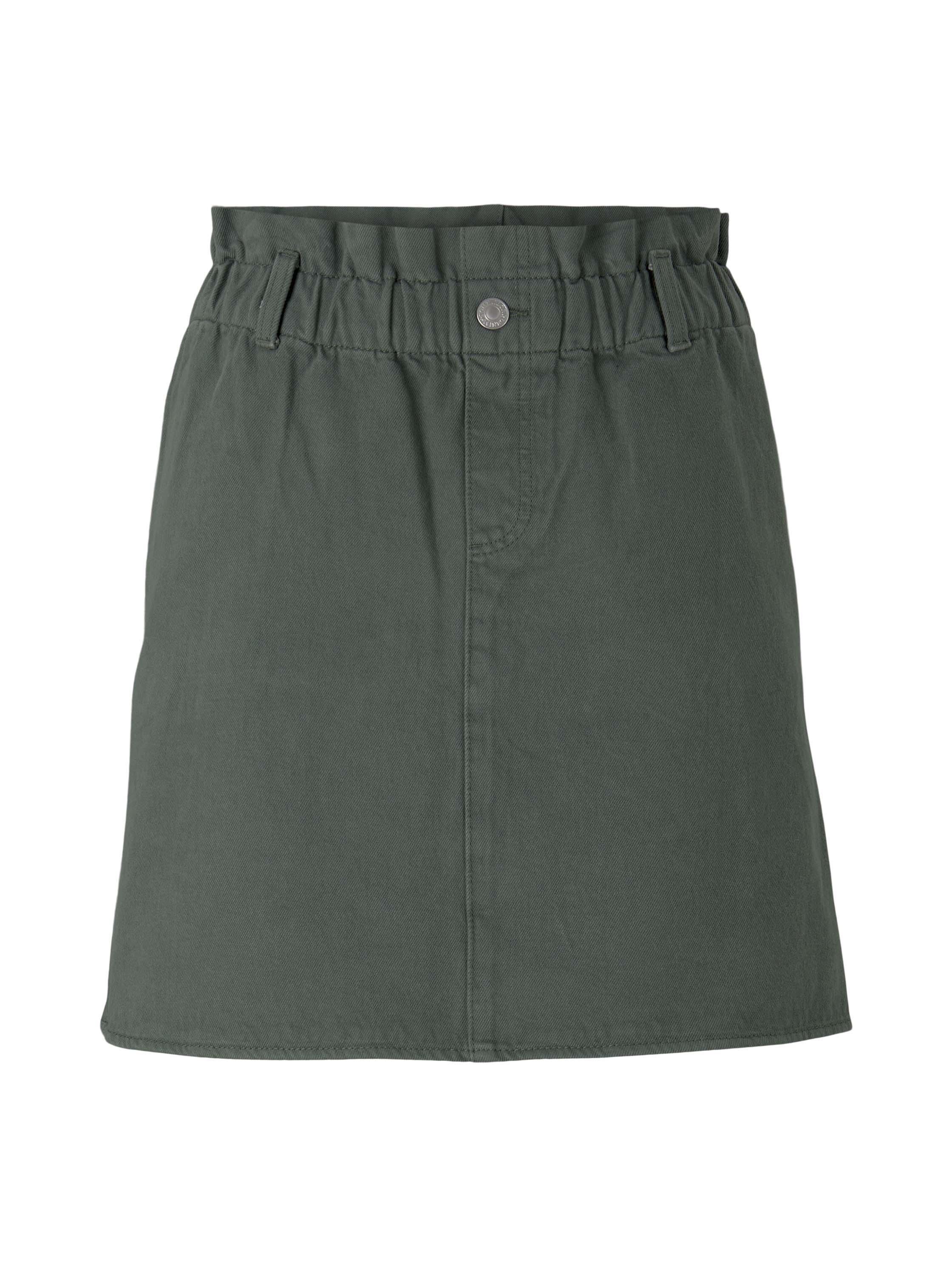 denim paperbag skirt, dusty pine green