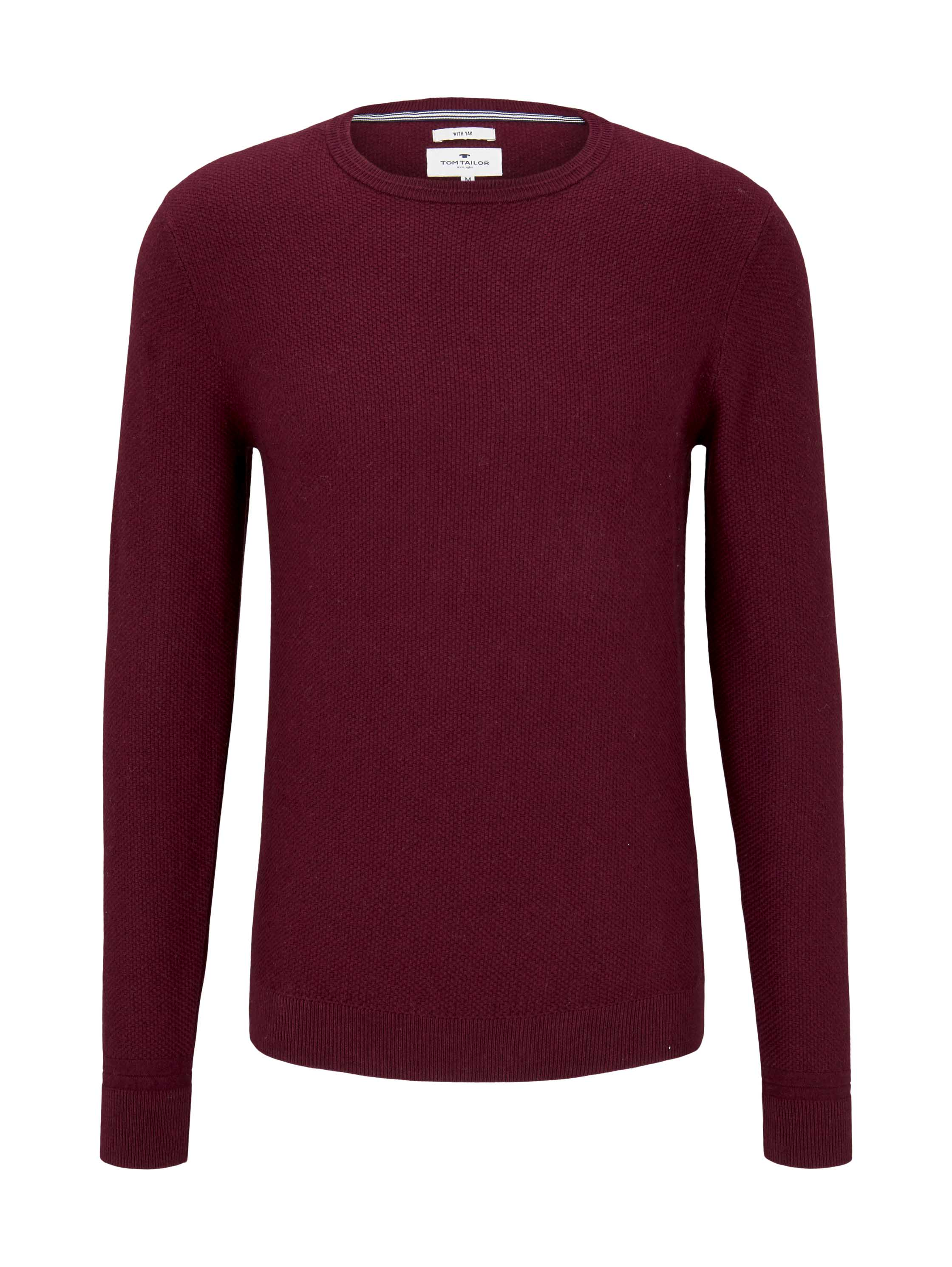 cosy sweater with yak, wine red melange