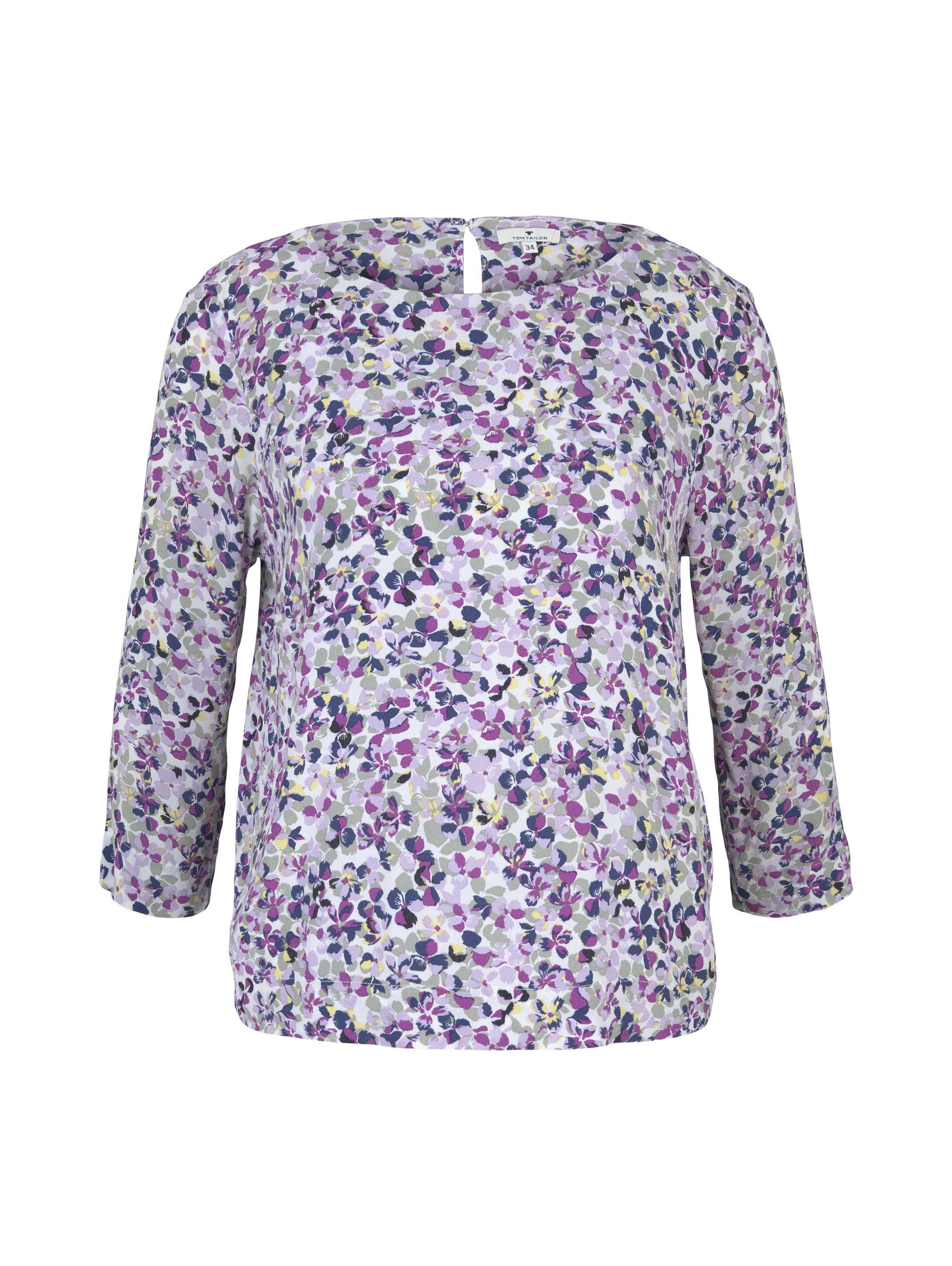 blouse easy shape, offwhite floral design