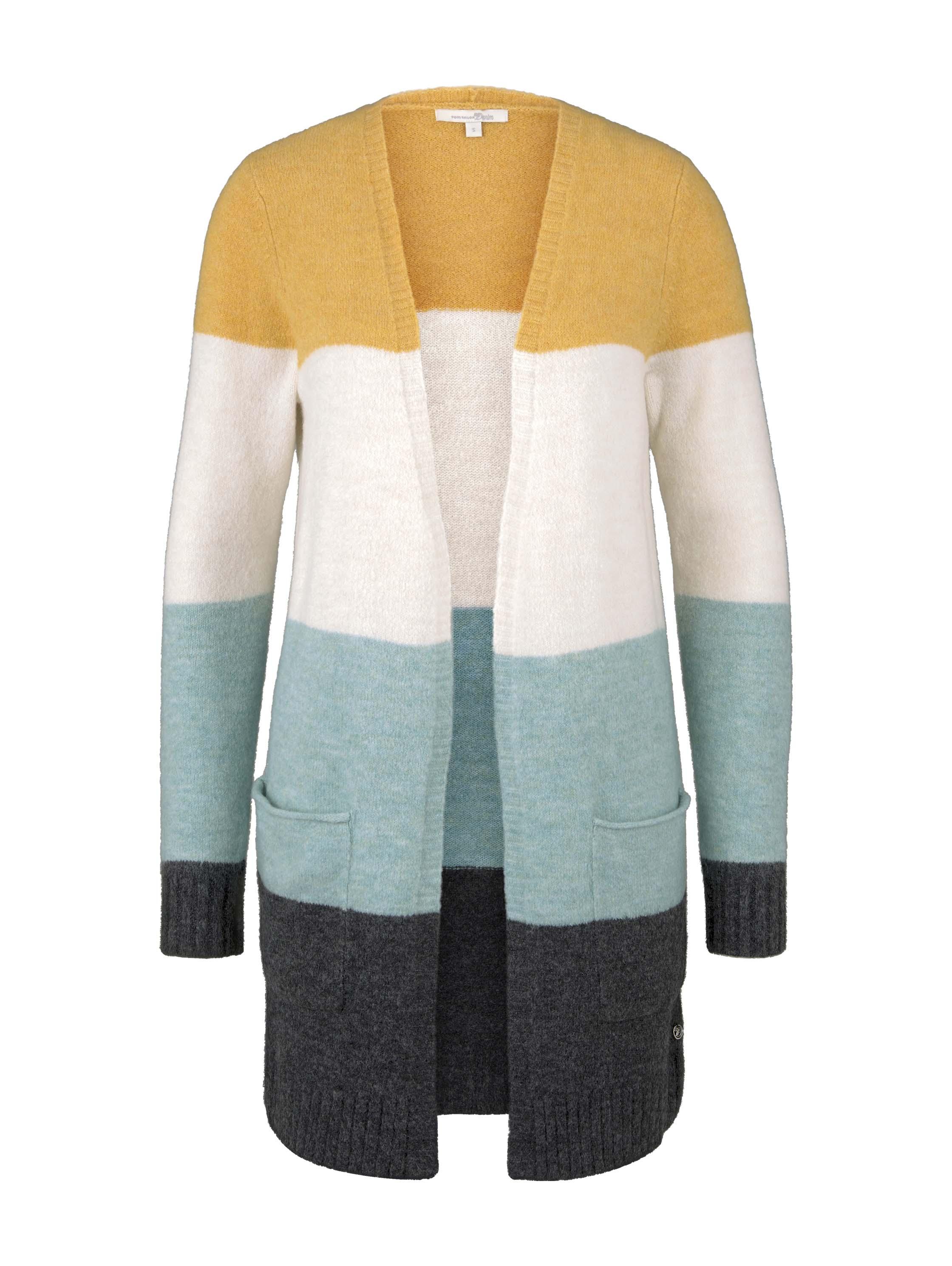 cosy striped basic cardigan, mint colourblock