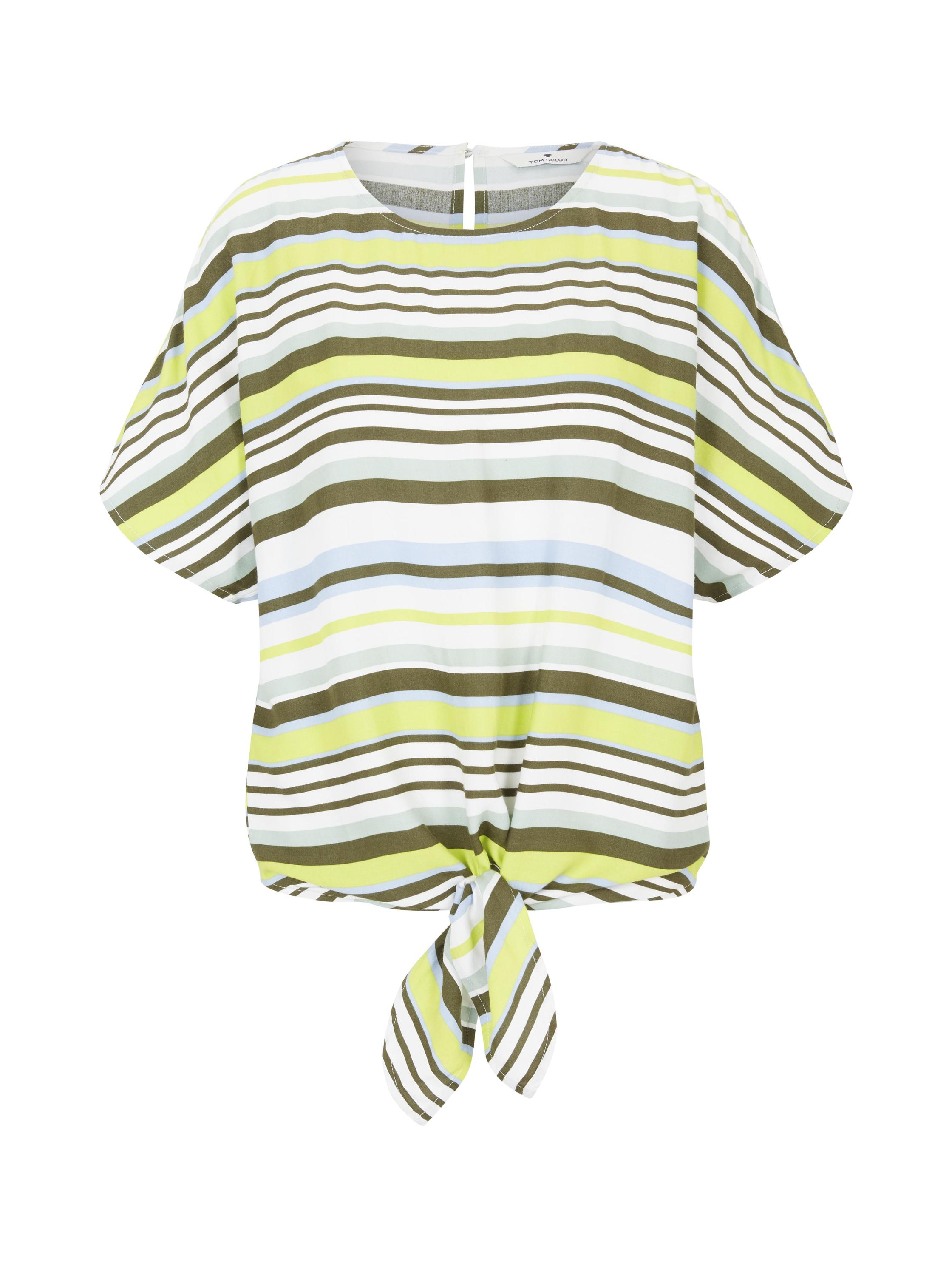 blouse  with knot detail, green multicolor stripe