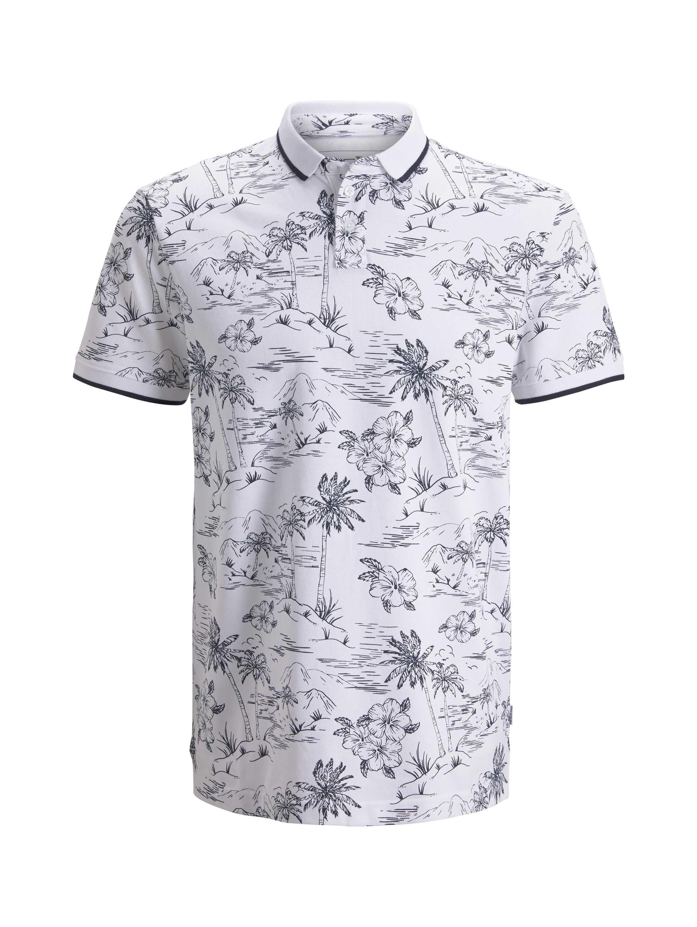 Polo with alloverprint, white navy hawaiian print