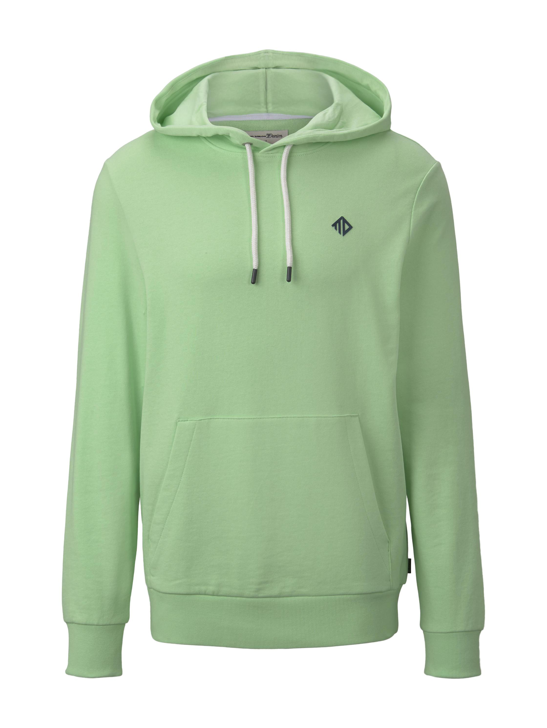 hoodie w. sleeve detail, soft neo green
