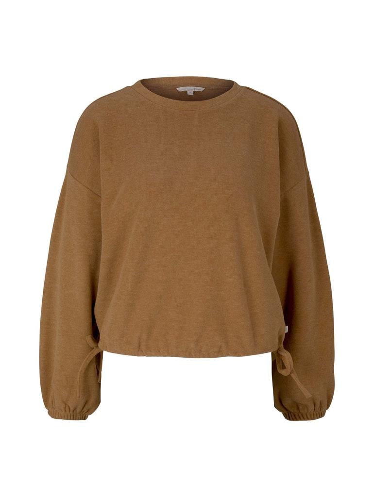 cropped rib sweater, camel melange