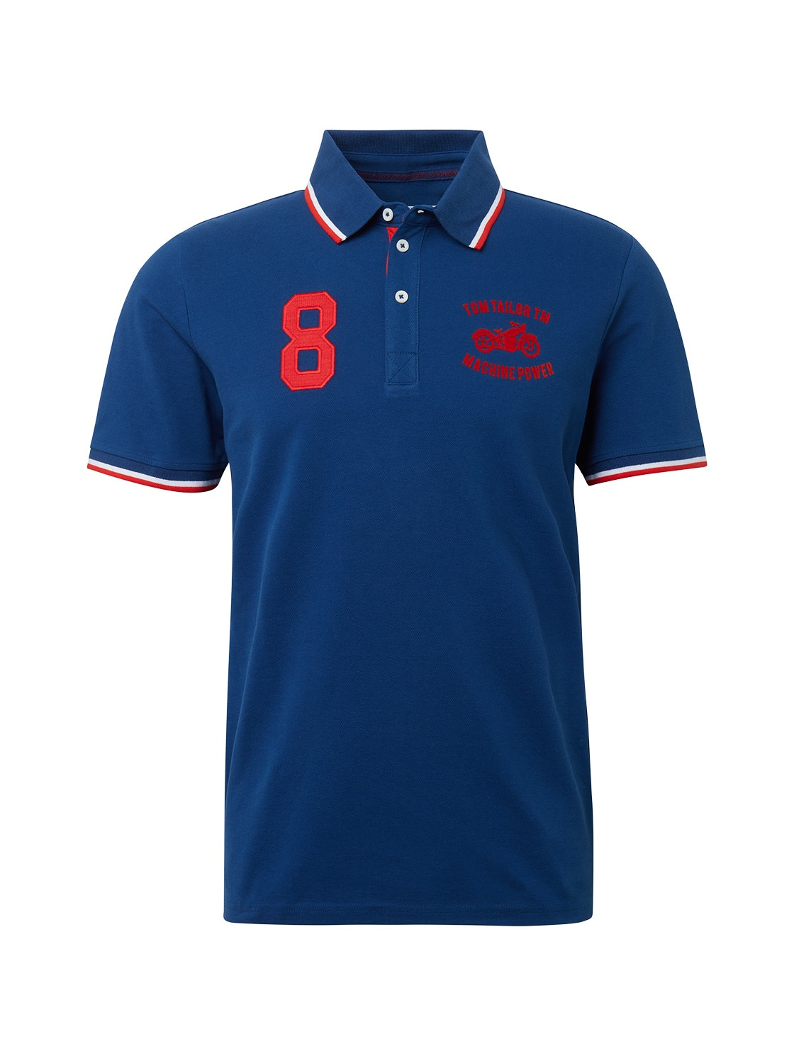 decorated polo with tippings, after dark blue               Blue