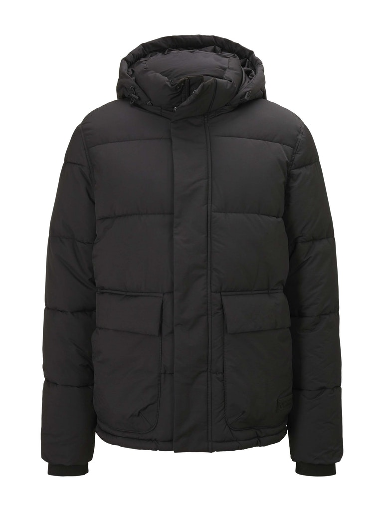 clean puffer jacket, Black