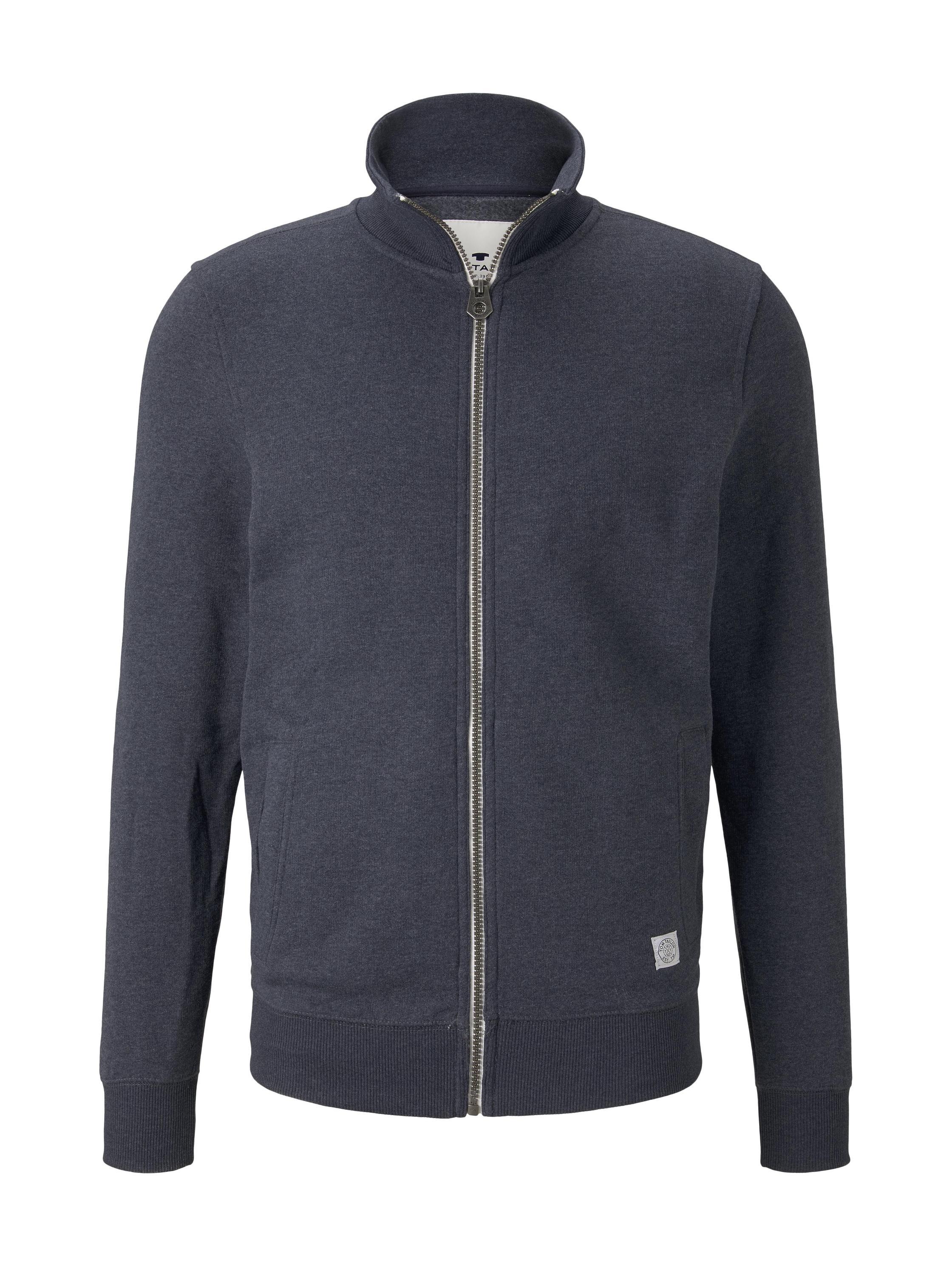basic stand-up sweat jacket, Washed Knitted Navy Melange   Blue