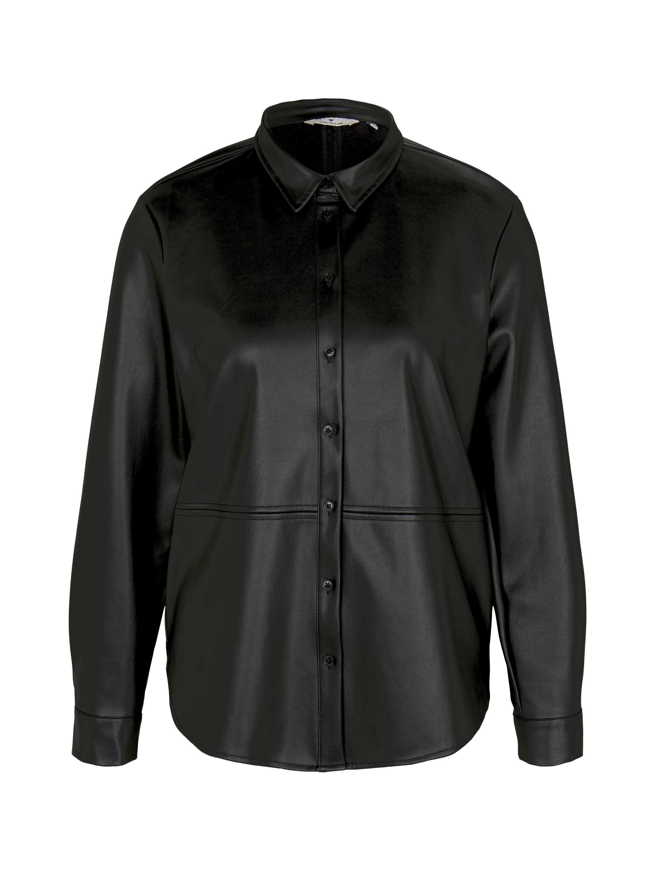 blouse fake leather, Deep Black