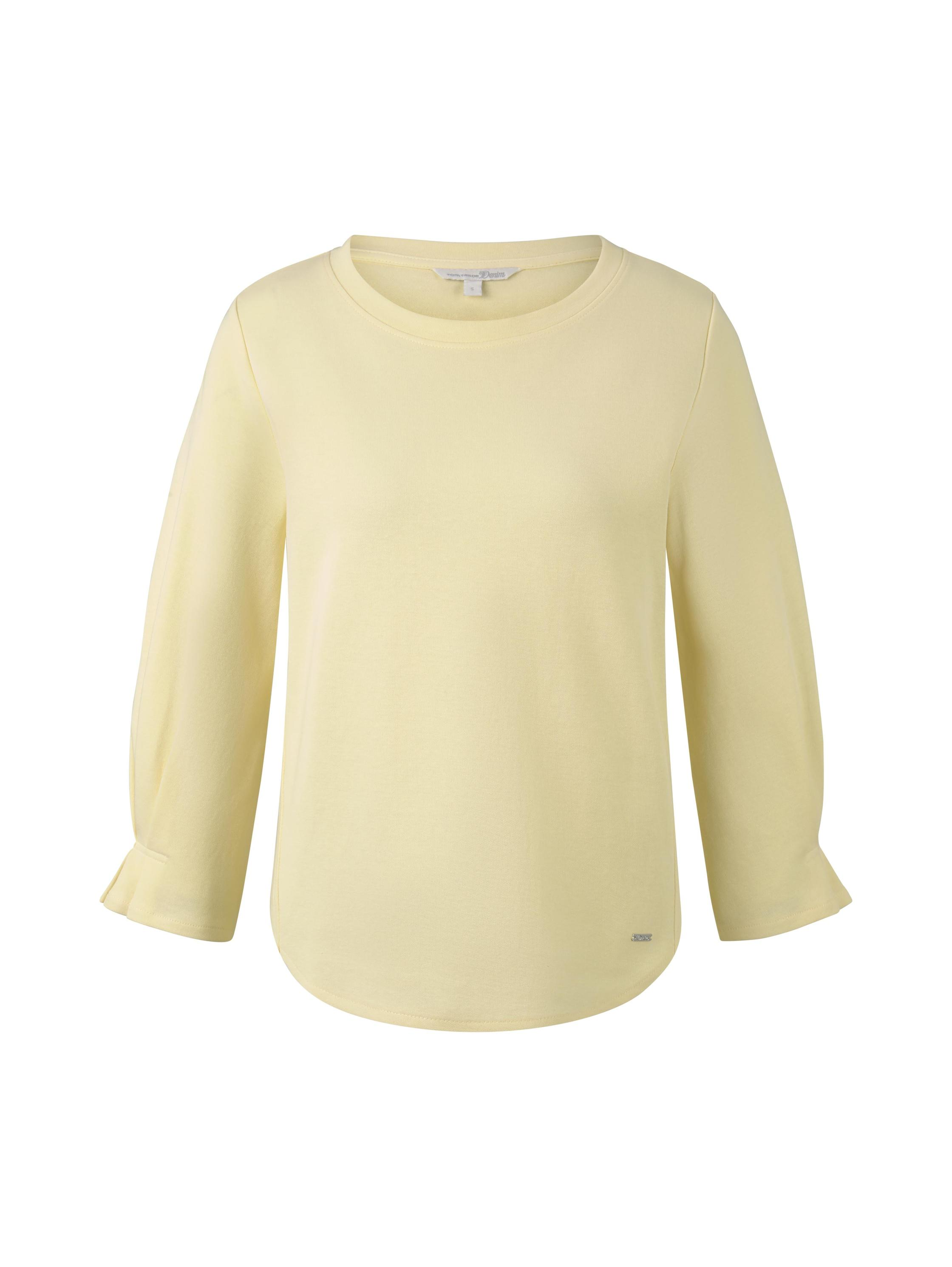 basic sweater with detail, pale yellow