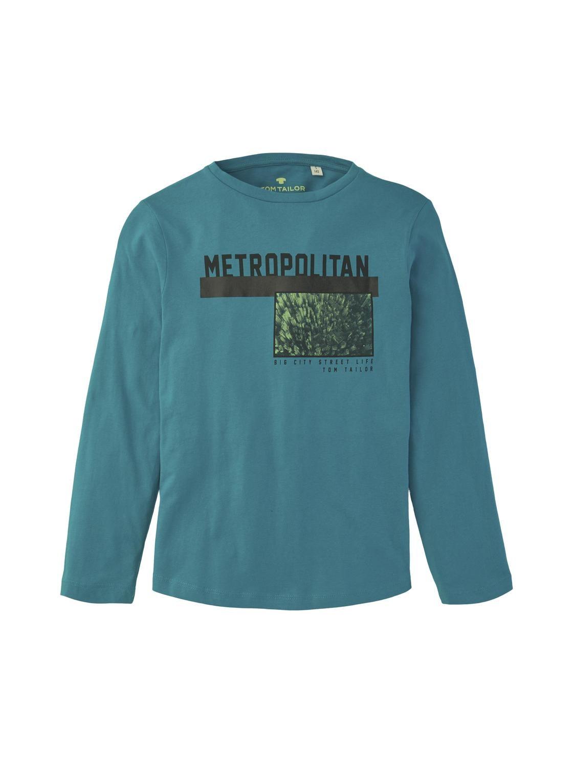 T-shirt placed print, algiers blue-cyan